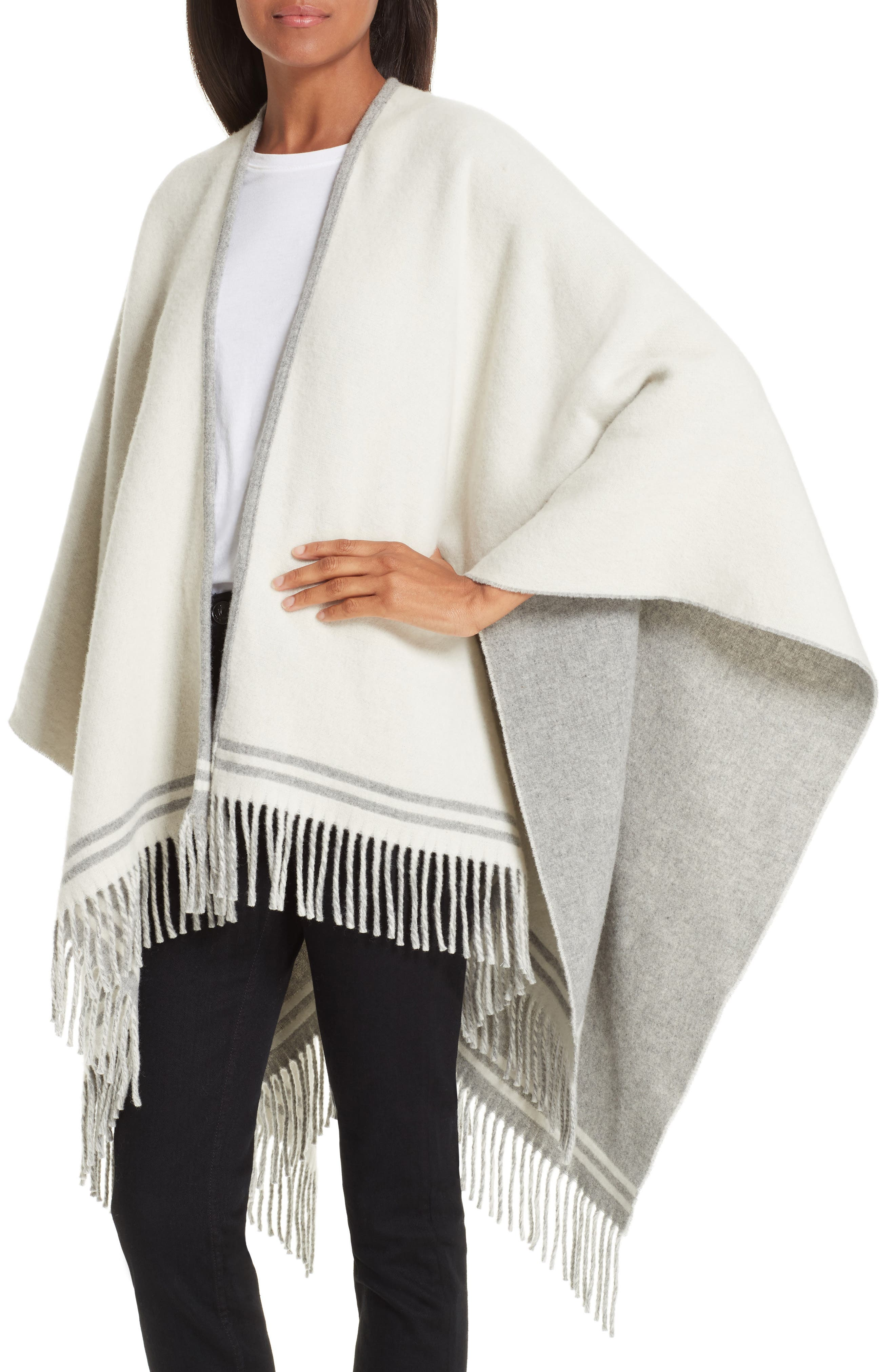 Stripe Merino Wool Poncho,                             Alternate thumbnail 2, color,                             GREY MULTI