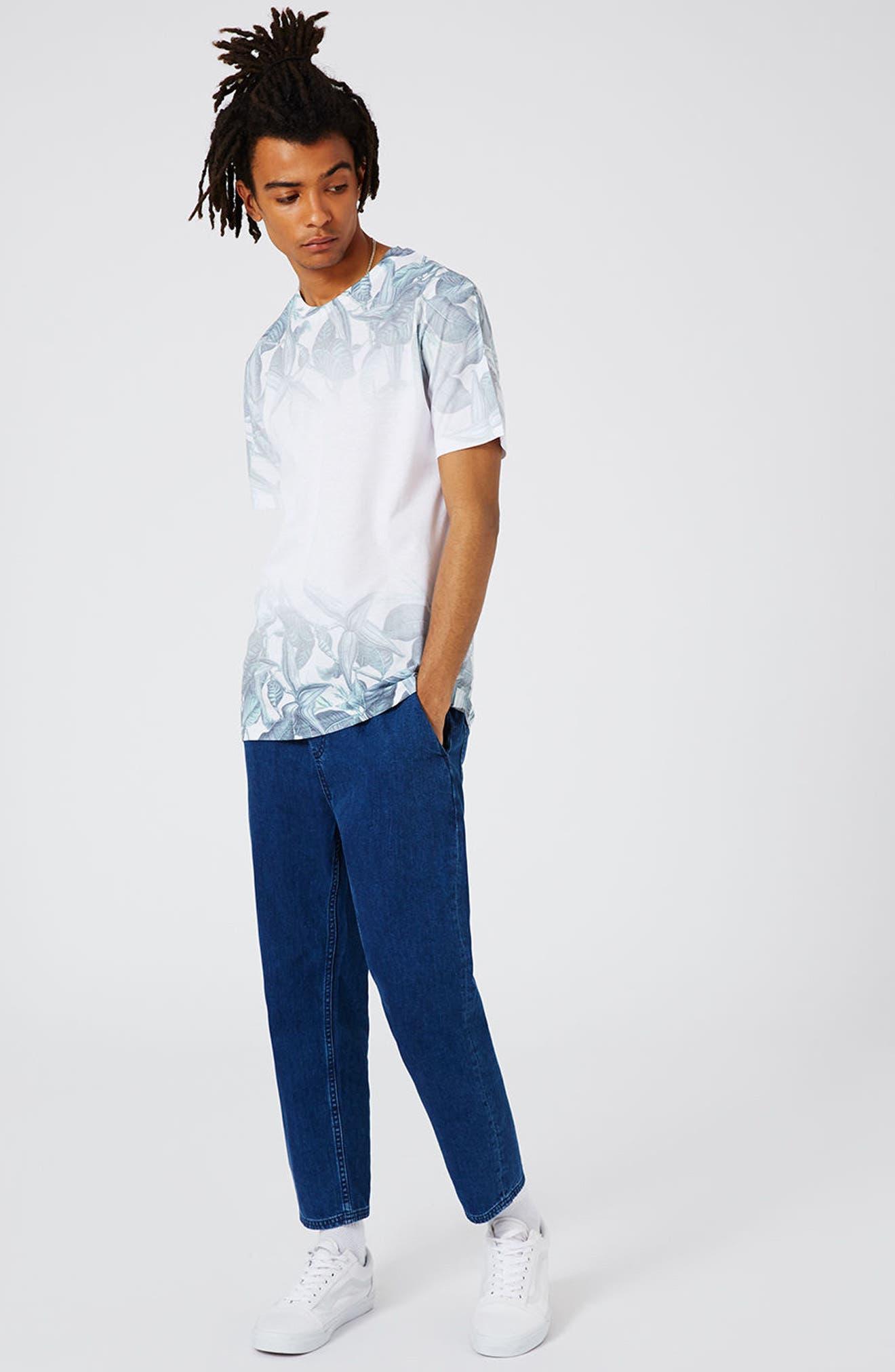 Slim Fit Leaf Print T-Shirt,                             Alternate thumbnail 4, color,                             100