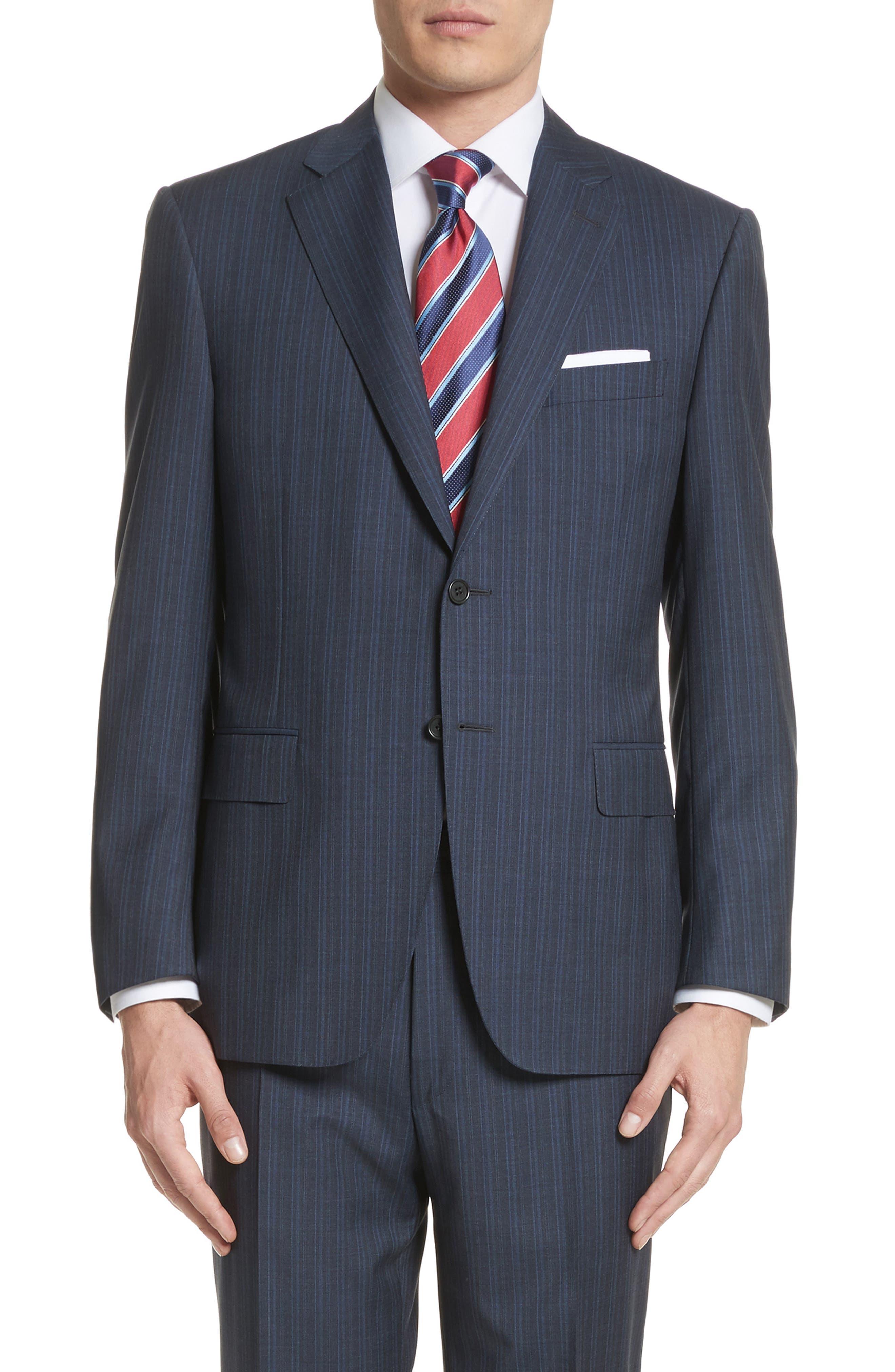 Classic Fit Stripe Wool Suit,                             Alternate thumbnail 5, color,