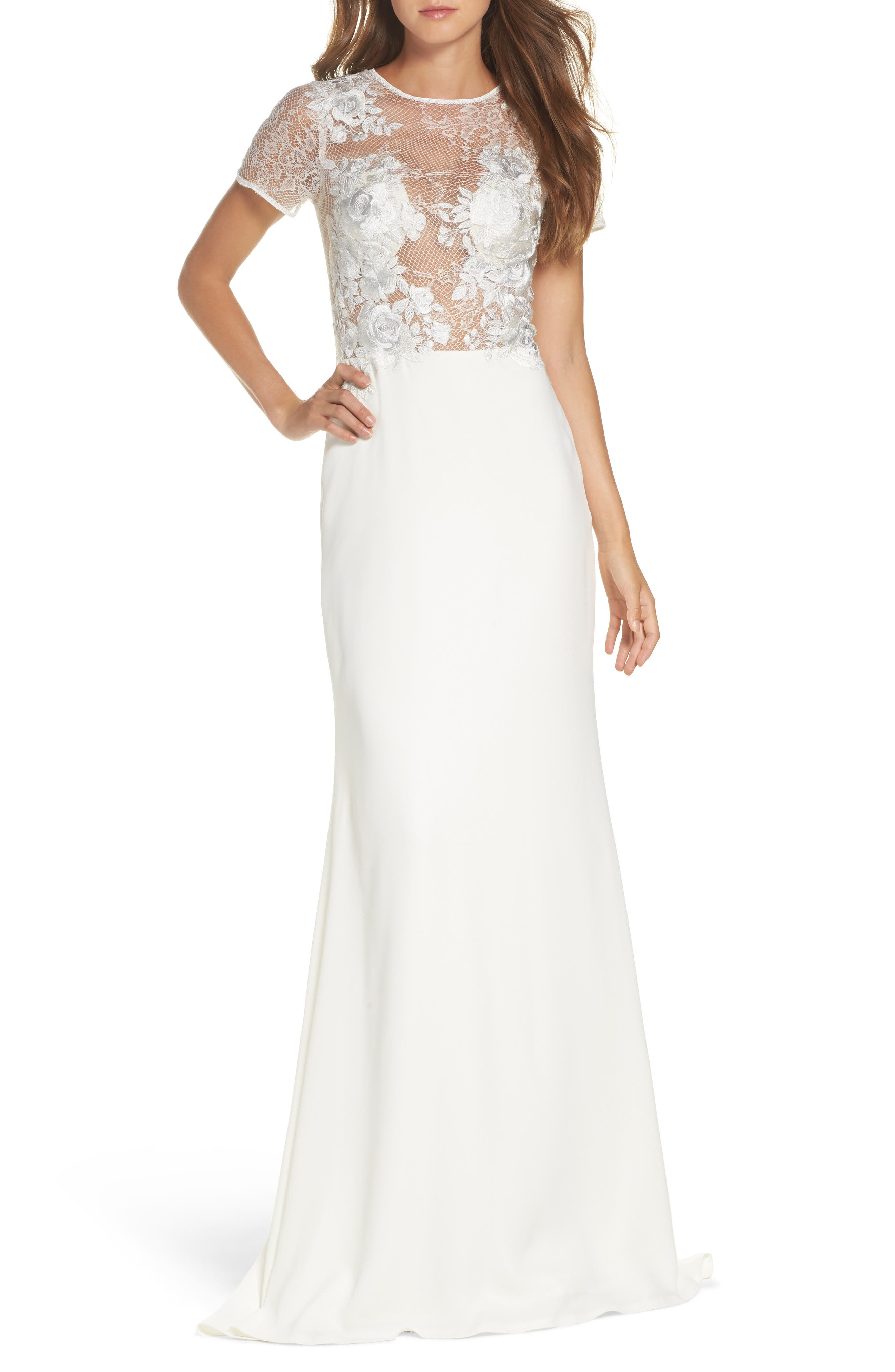 Floral Mesh Top Trumpet Gown,                             Main thumbnail 1, color,                             IVORY