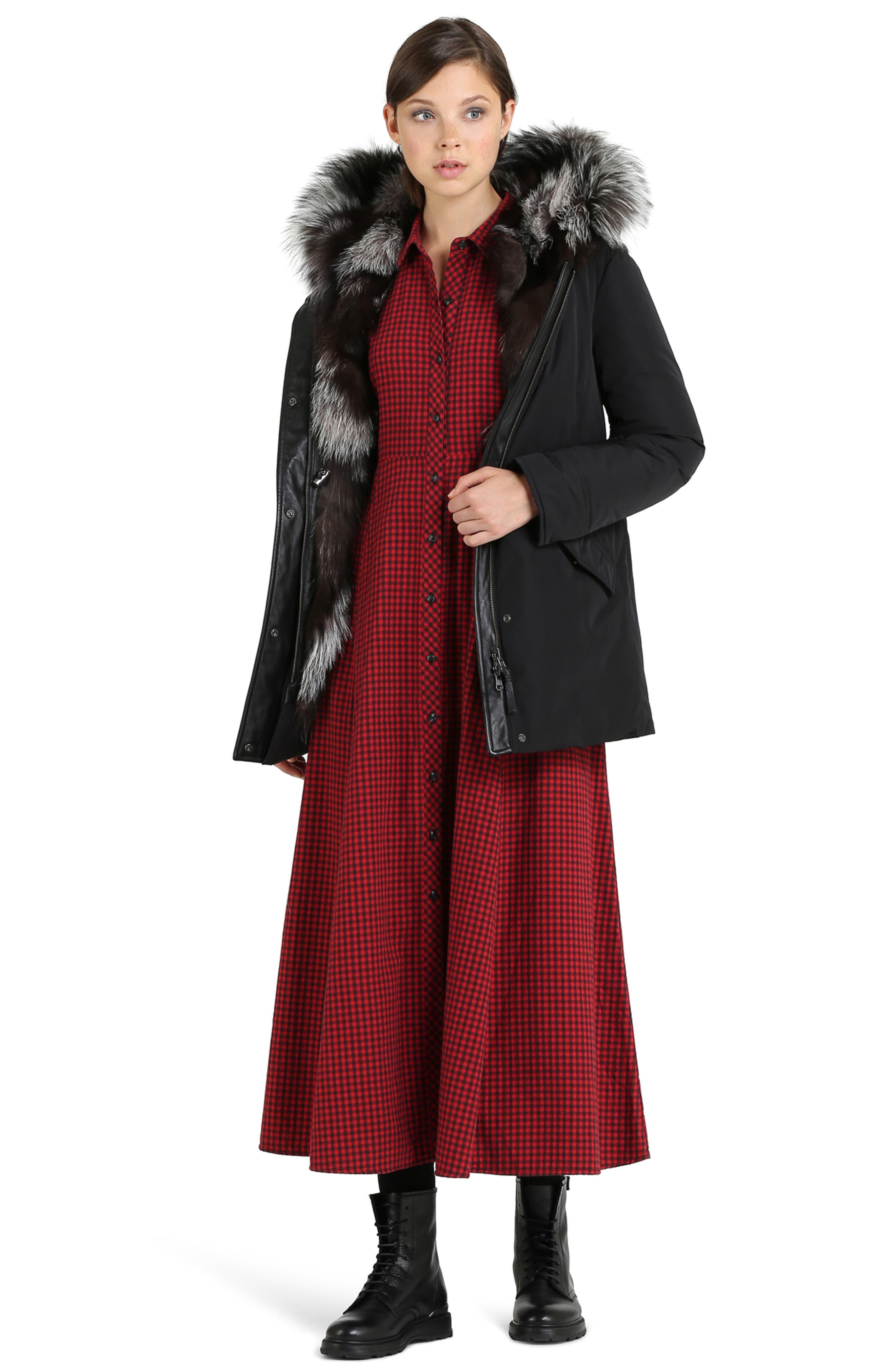 Somerset Reversible Hooded Down & Genuine Fox Fur Parka,                             Alternate thumbnail 6, color,                             BLACK