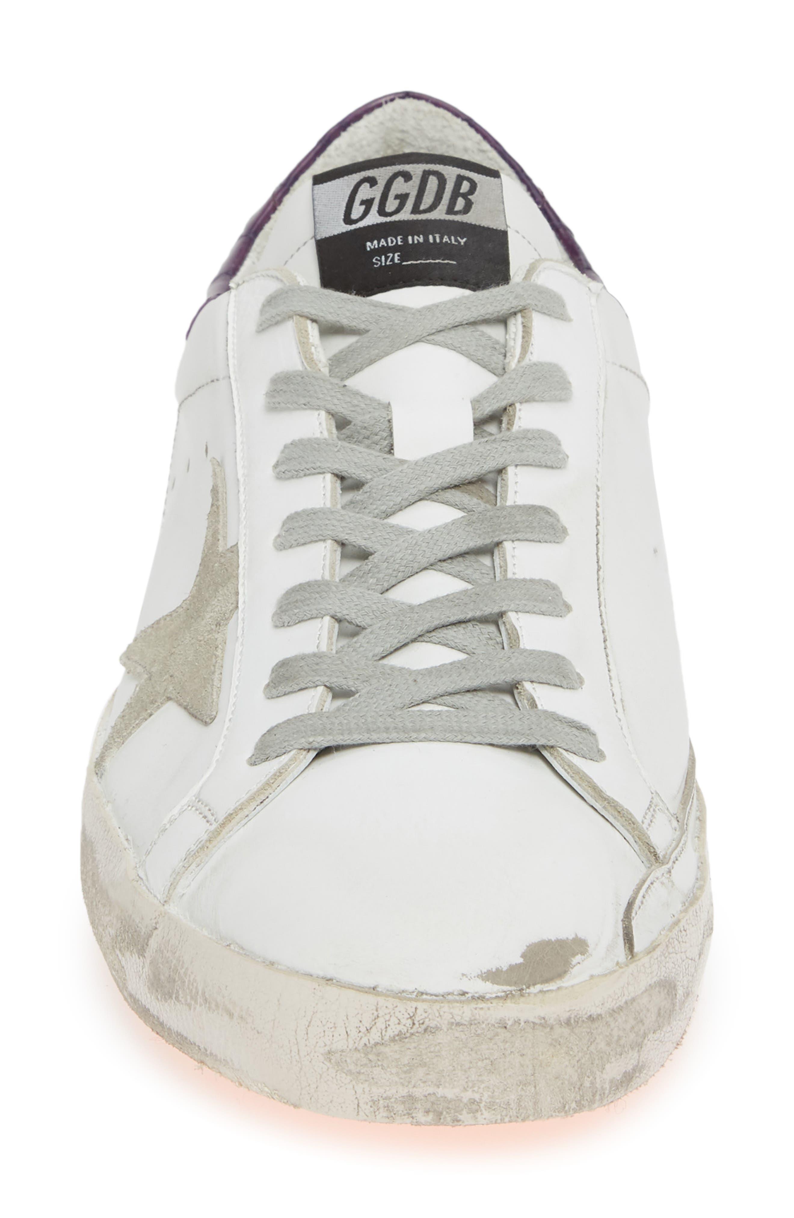 GOLDEN GOOSE,                             'Superstar' Sneaker,                             Alternate thumbnail 4, color,                             WHITE/ VIOLET