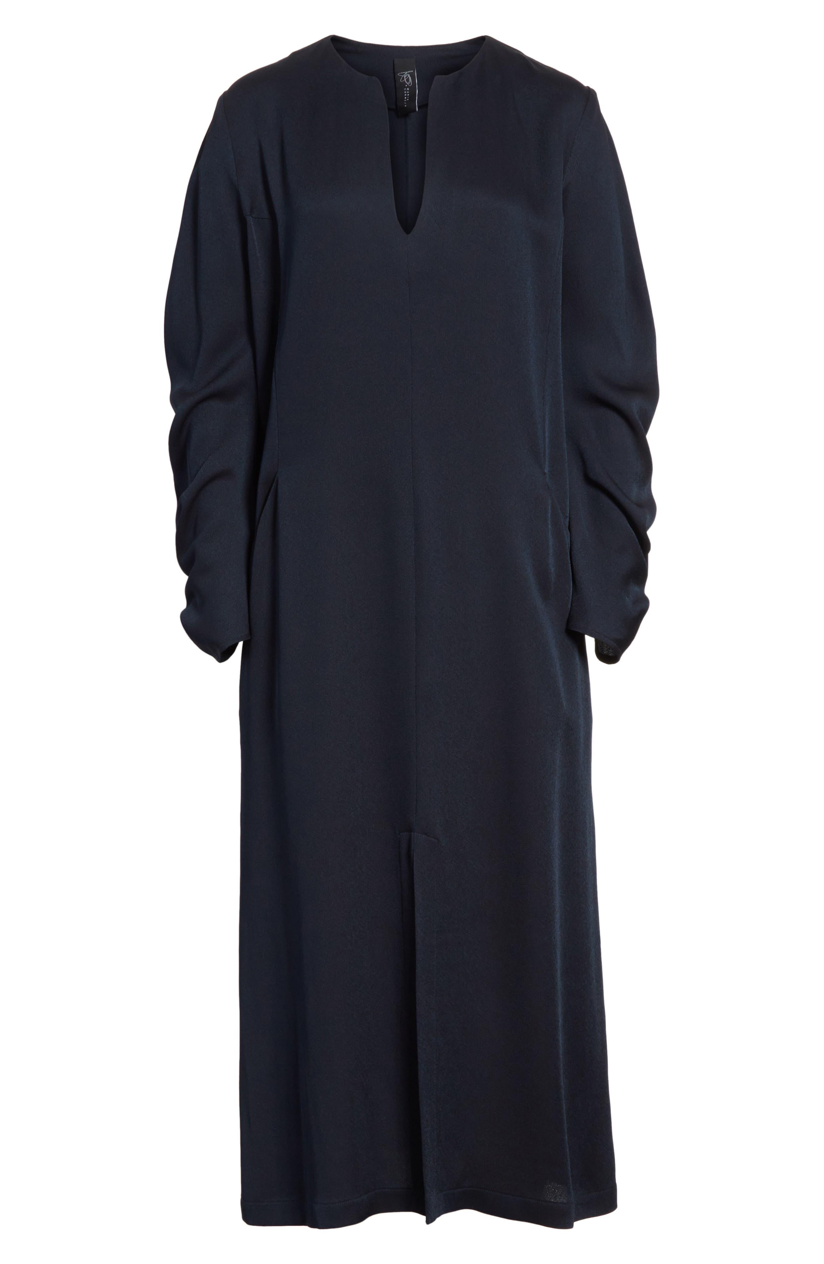Eco Drape Midi Dress,                             Alternate thumbnail 6, color,                             007