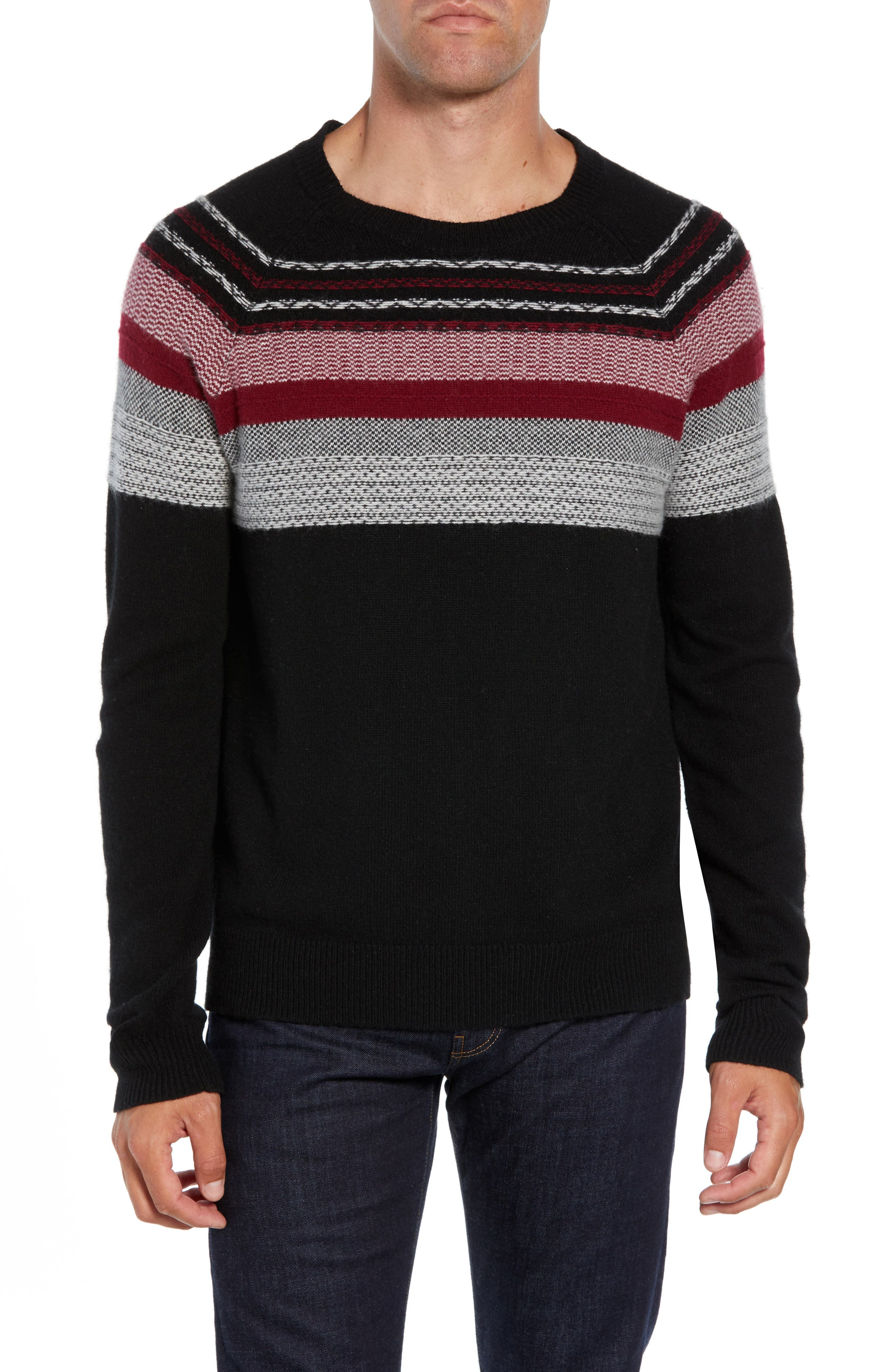Fair Isle Sweater,                             Main thumbnail 1, color,                             BLACK/ RED COMBO