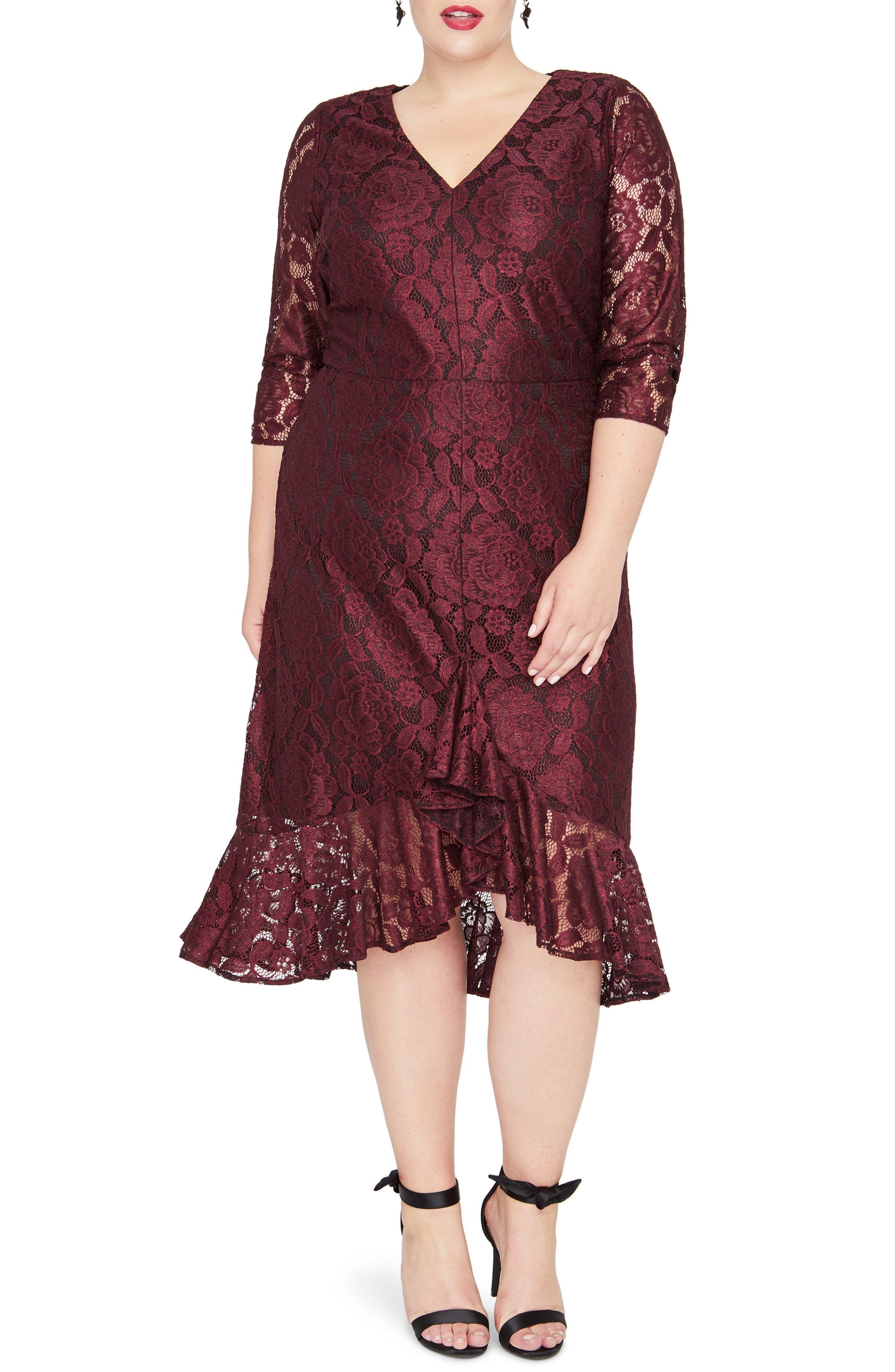RACHEL RACHEL ROY,                             Parker Lace A-Line Dress,                             Main thumbnail 1, color,                             OXBLOOD COMBO