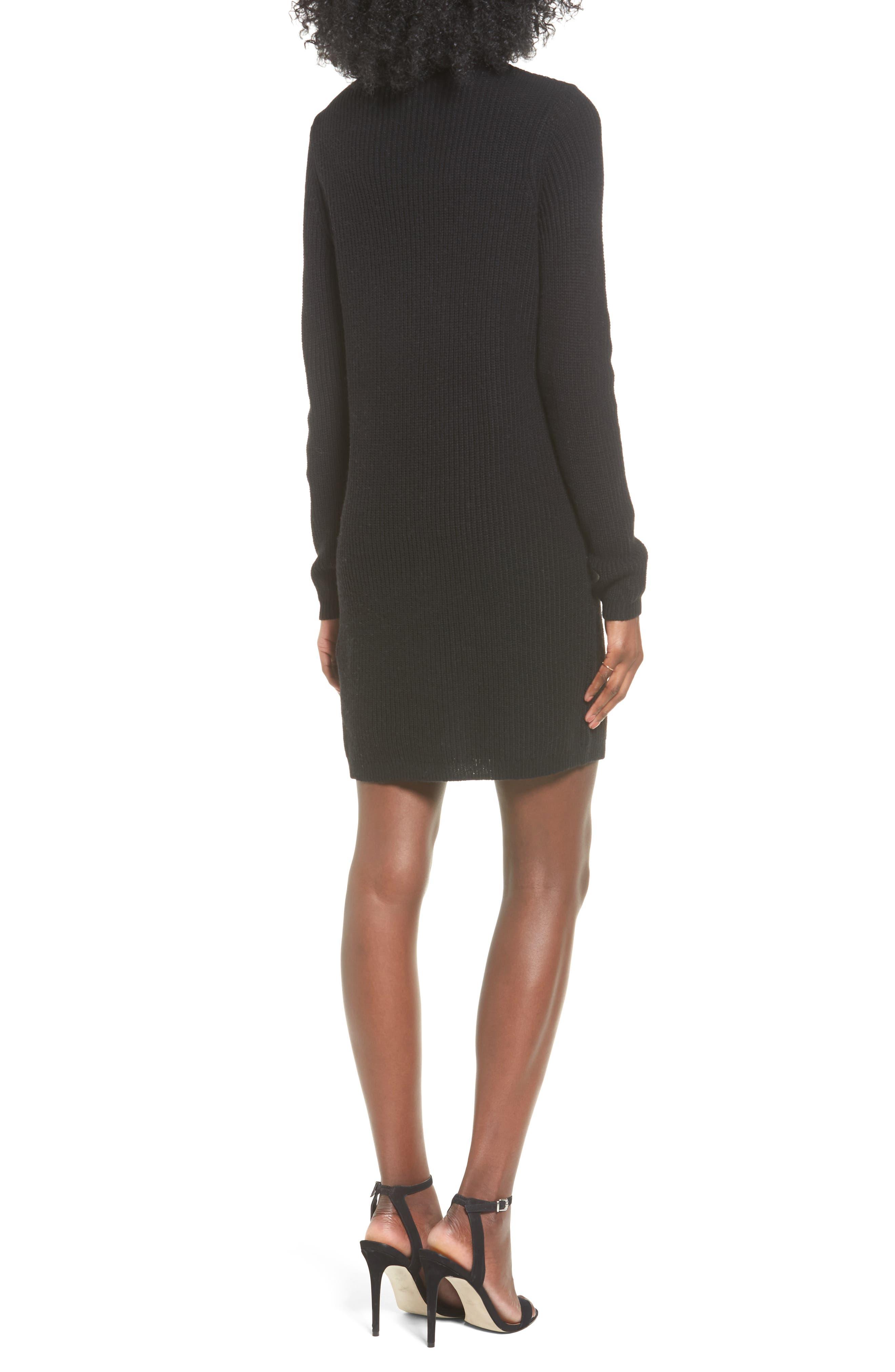 BP Cutout Choker Sweater Dress,                             Alternate thumbnail 2, color,                             001