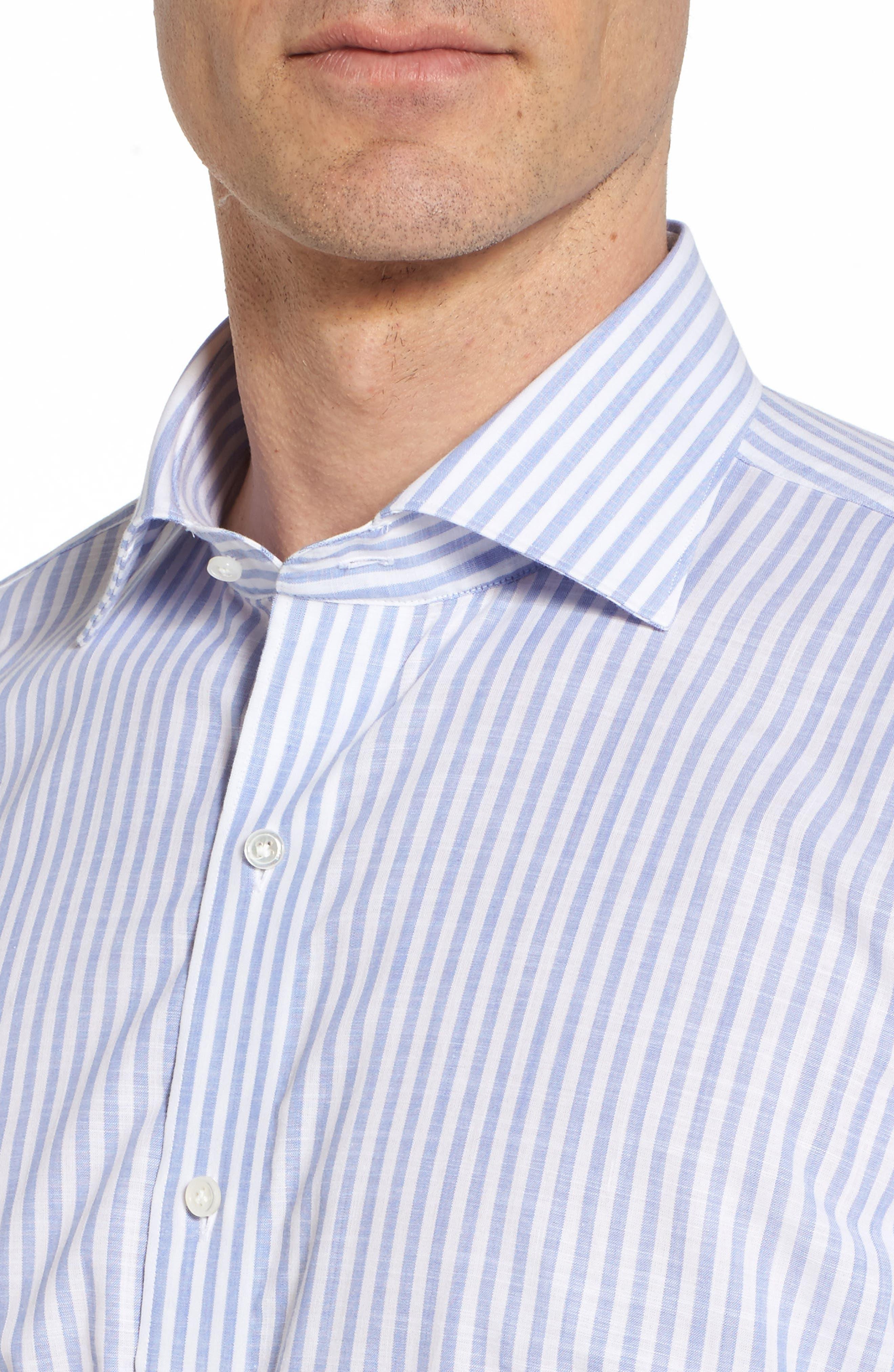 Summer Stripe Chambray Sport Shirt,                             Alternate thumbnail 4, color,                             433