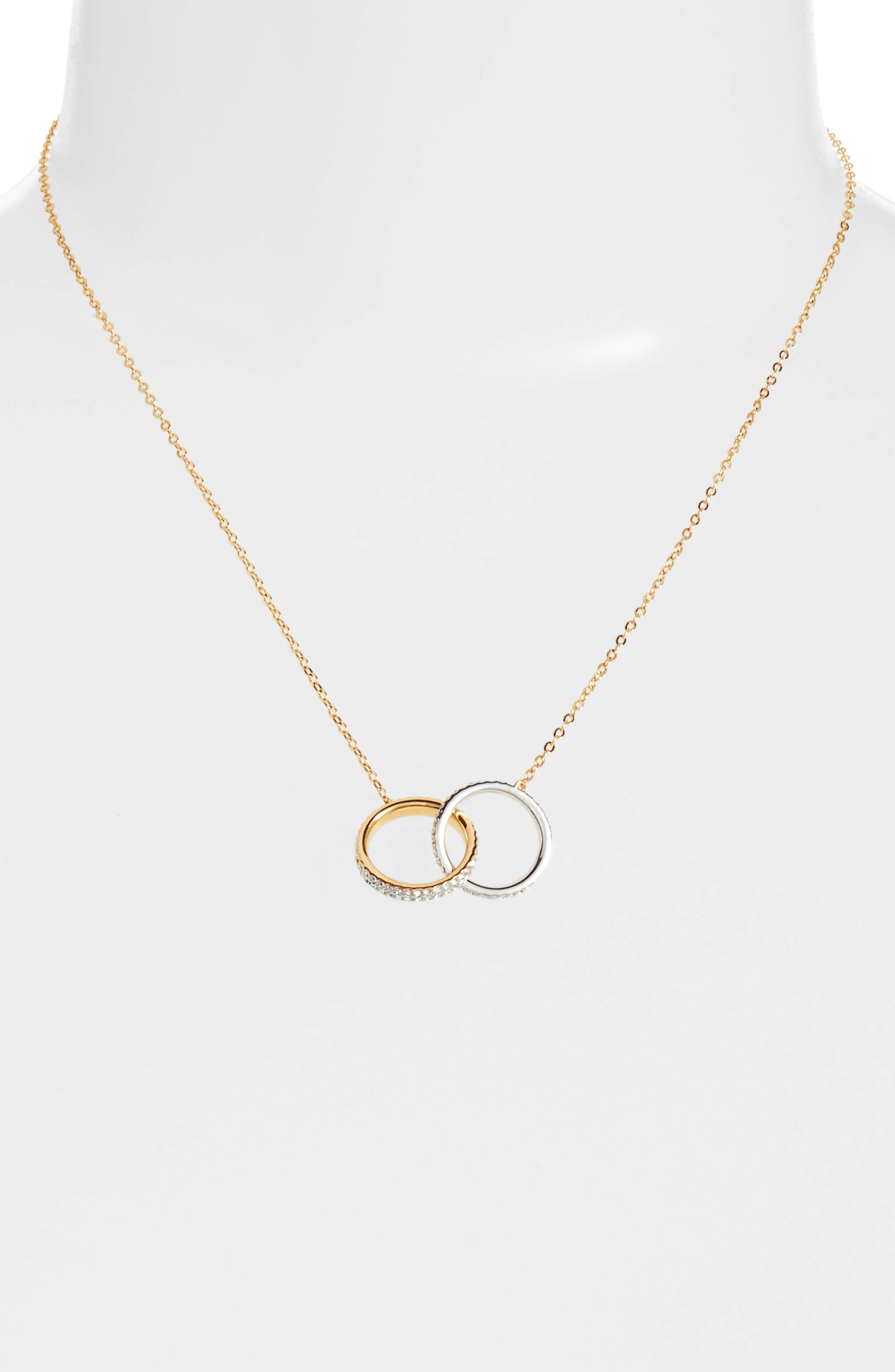 Trinity Double Link Pendant Necklace,                             Alternate thumbnail 2, color,                             GOLD / SILVER