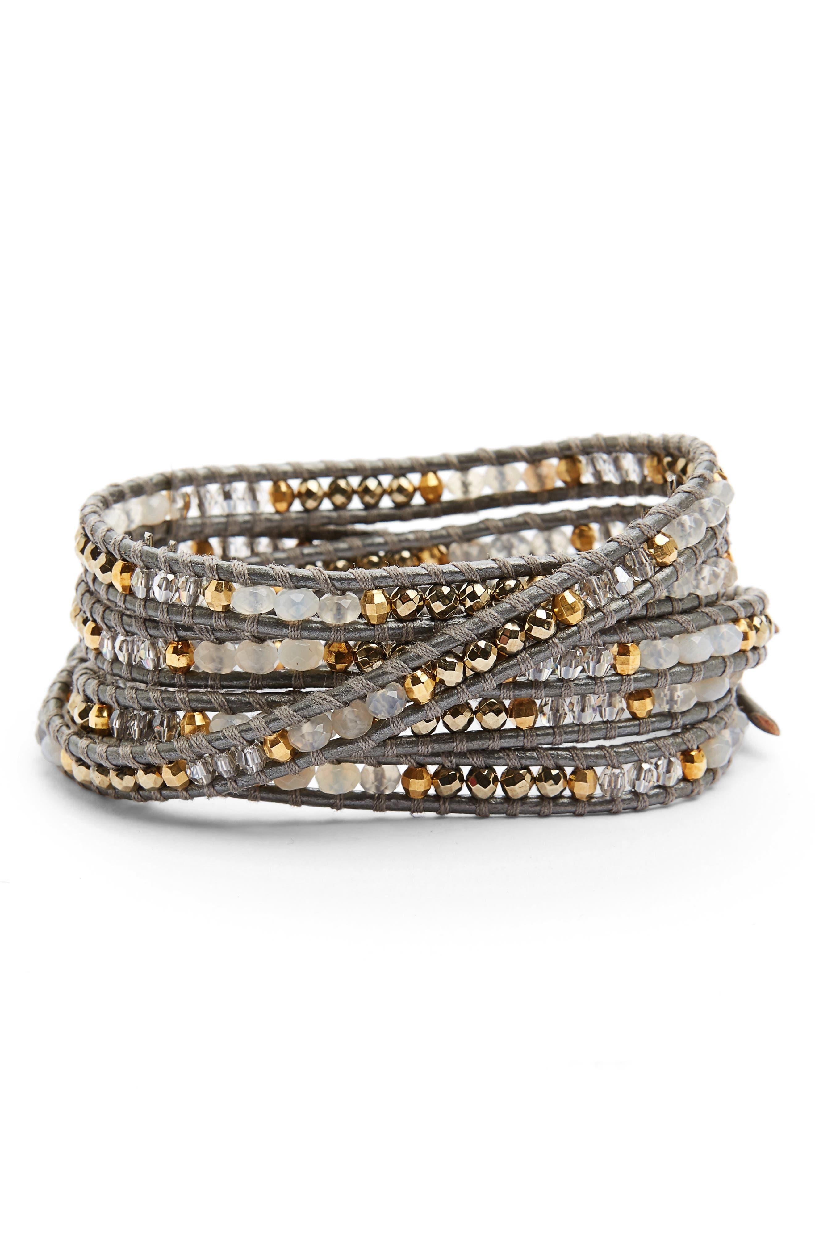 Semiprecious Stone Leather Wrap Bracelet,                         Main,                         color,