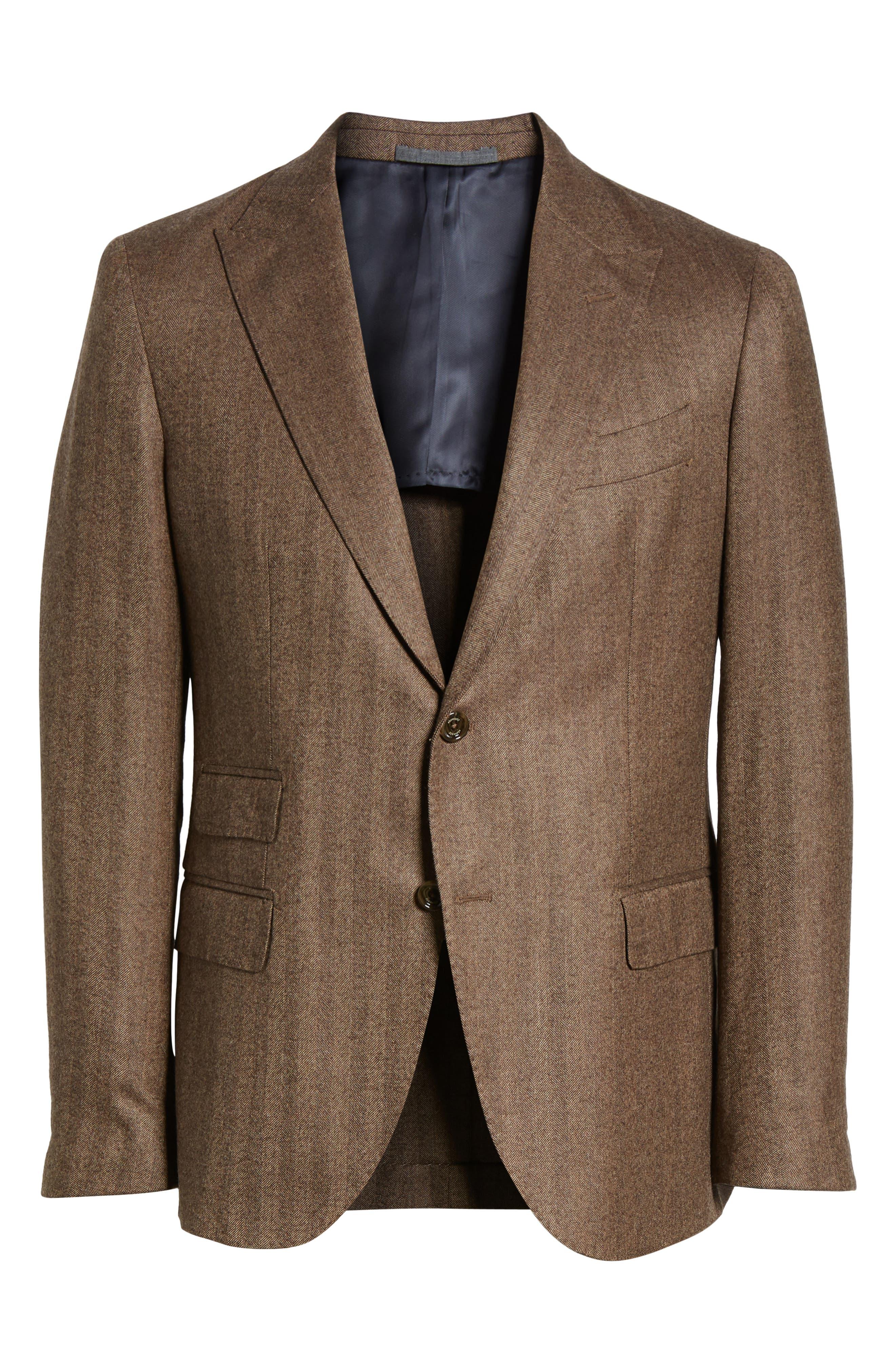 Trim Fit Herringbone Wool Sport Coat,                             Alternate thumbnail 5, color,                             BROWN