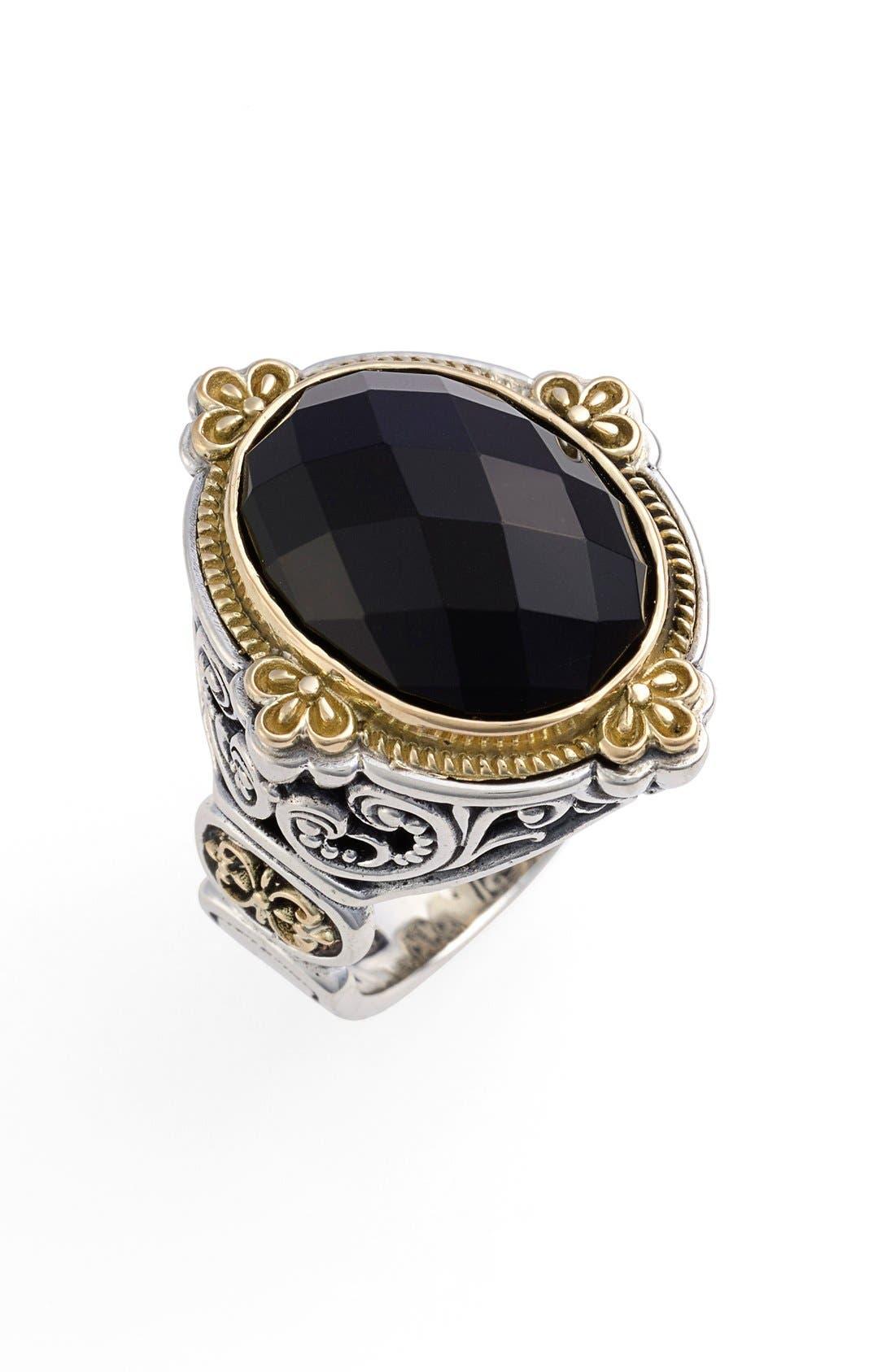 KONSTANTINO,                             'Nykta' Faceted Stone Ring,                             Main thumbnail 1, color,                             SILVER/ GOLD/ BLACK ONYX