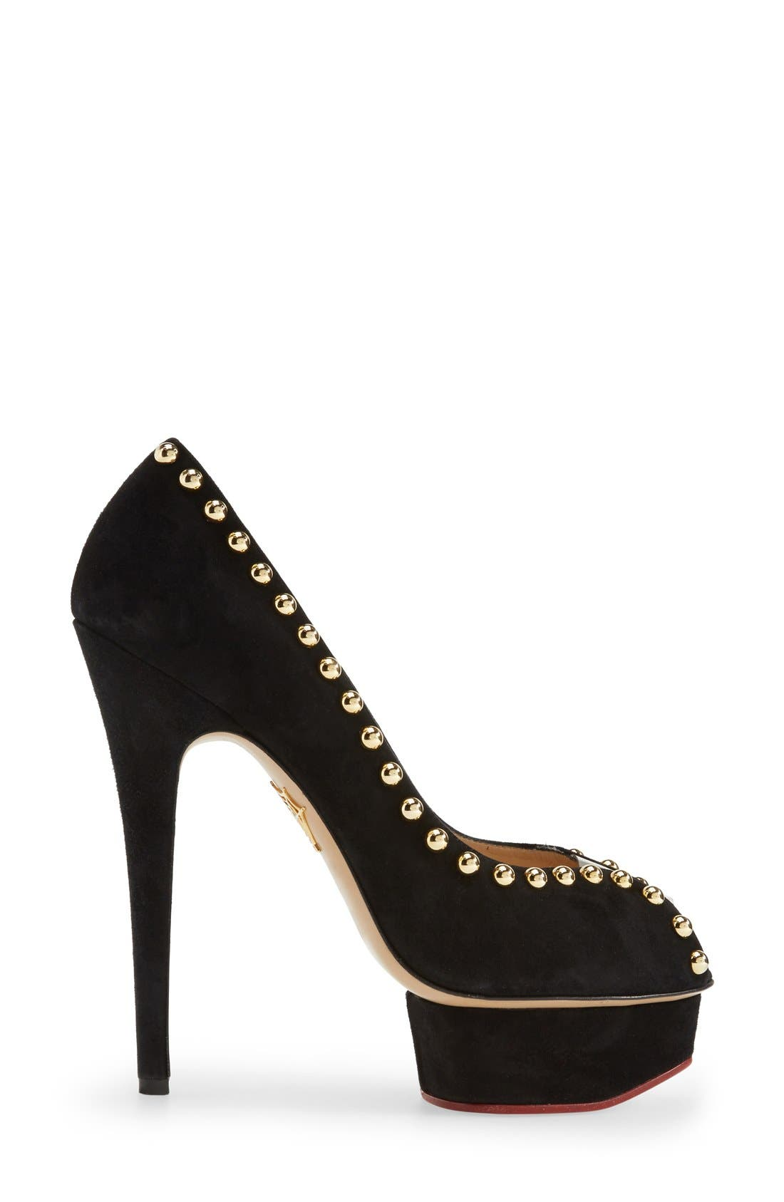 'Daphne' Studded Peep Toe Platform Pump,                             Alternate thumbnail 3, color,                             001