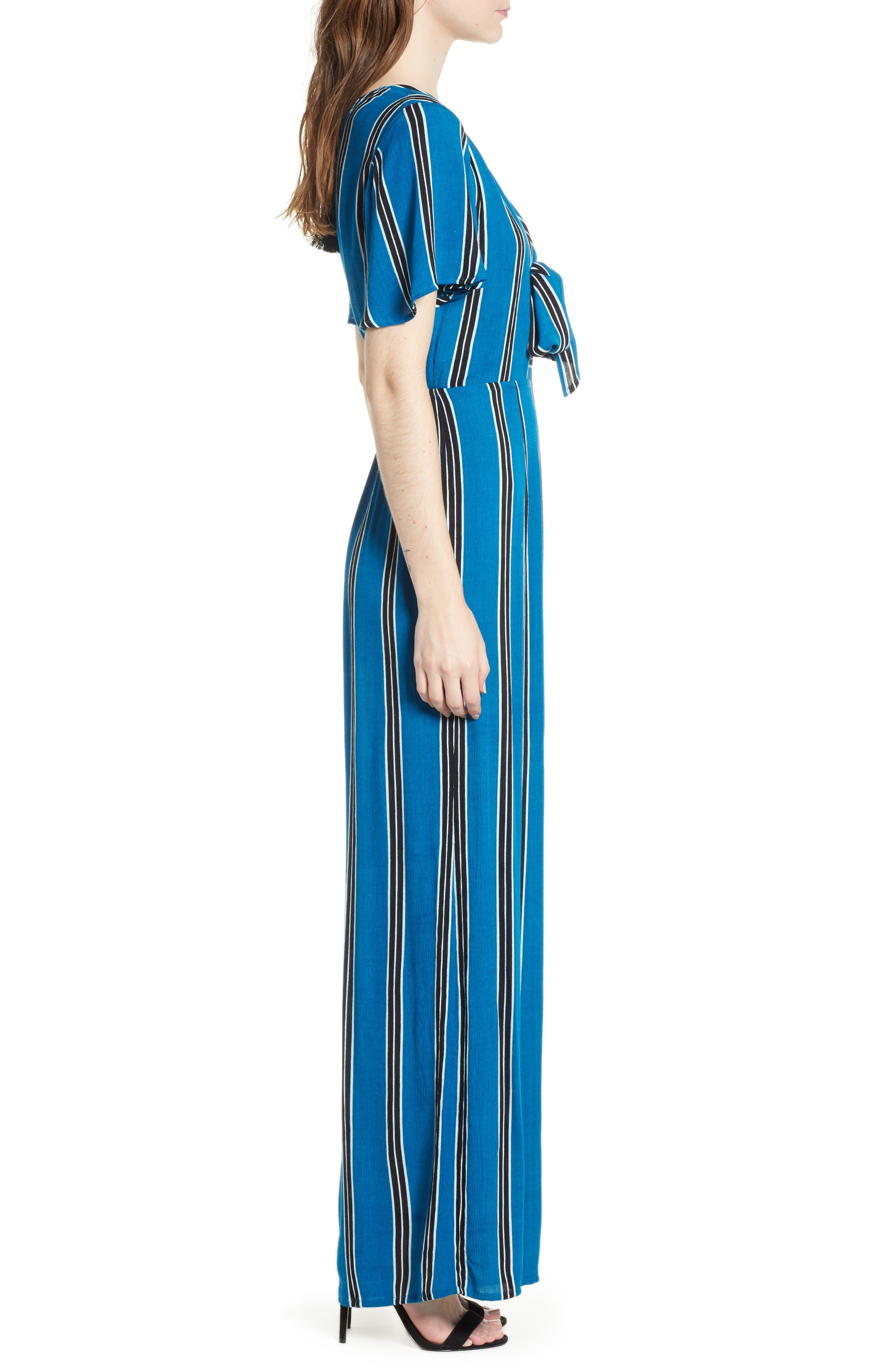Knot Front Stripe Jumpsuit,                             Alternate thumbnail 3, color,                             BLUE/ BLACK