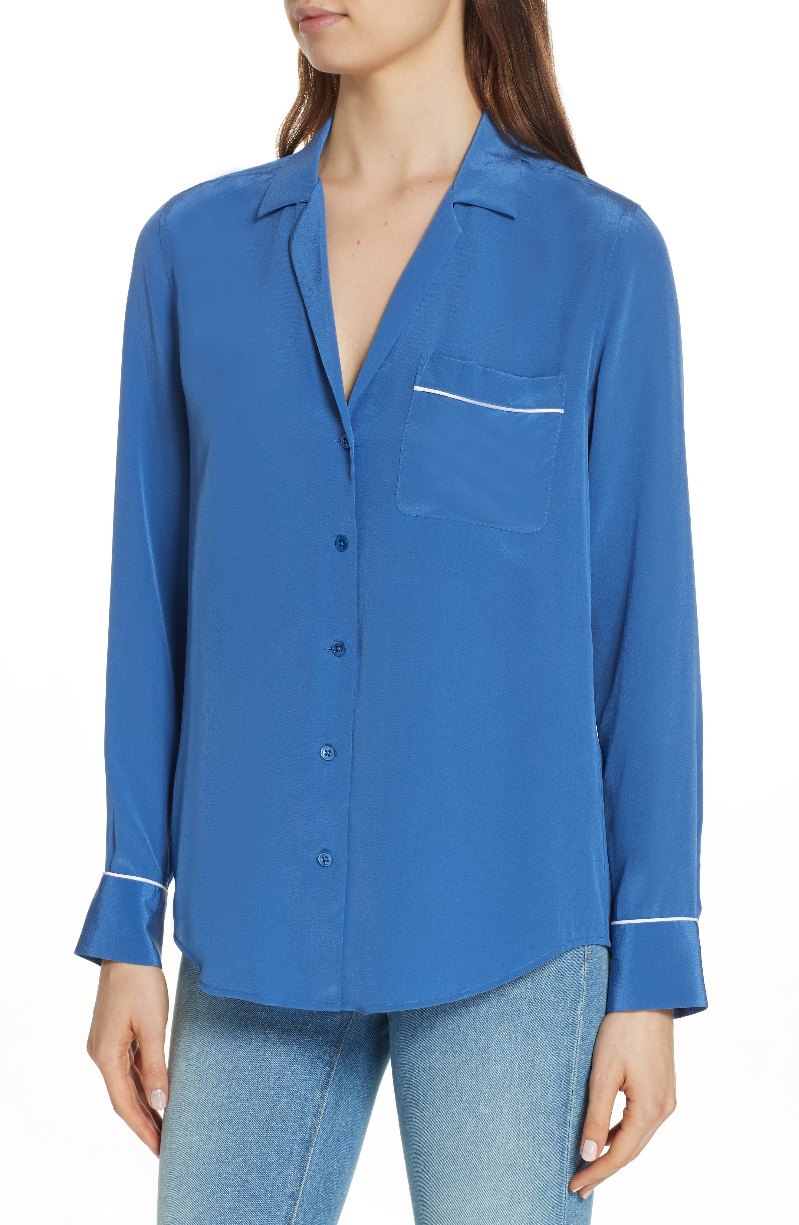Keira Piped Silk Shirt,                             Alternate thumbnail 4, color,                             LETTERMAN BLUE