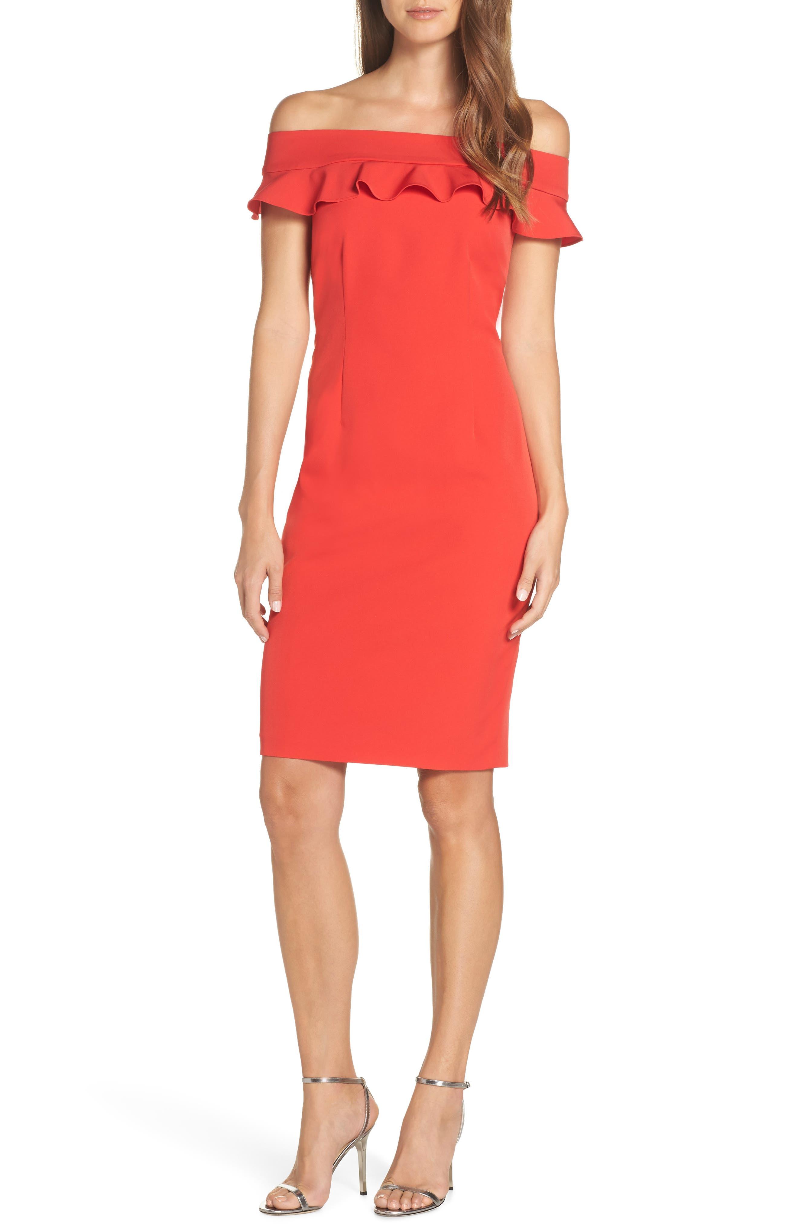 Eliza J Ruffle Off The Shoulder Dress, Red