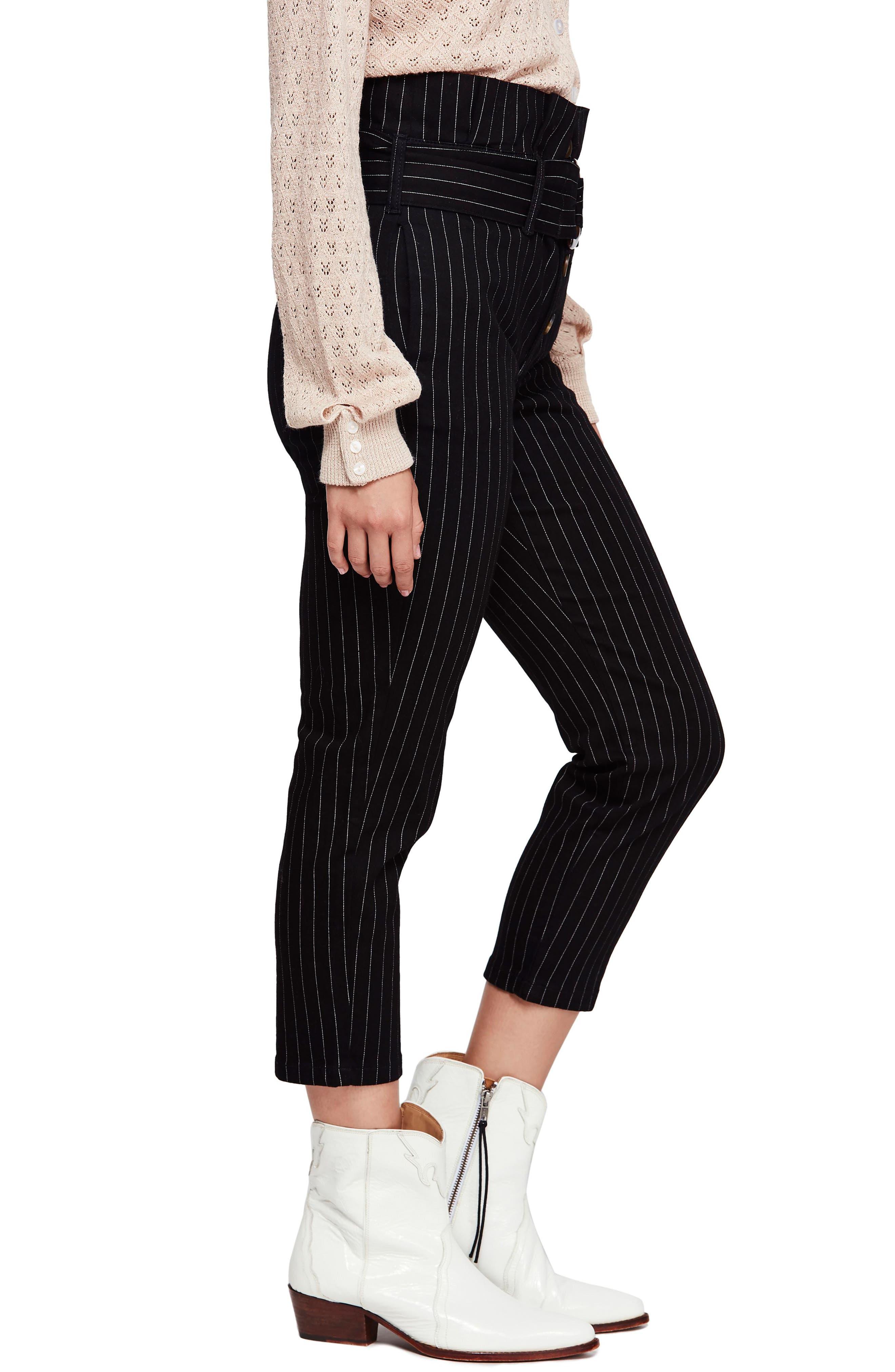 Montella Pinstripe Crop Skinny Pants,                             Alternate thumbnail 3, color,                             BLACK