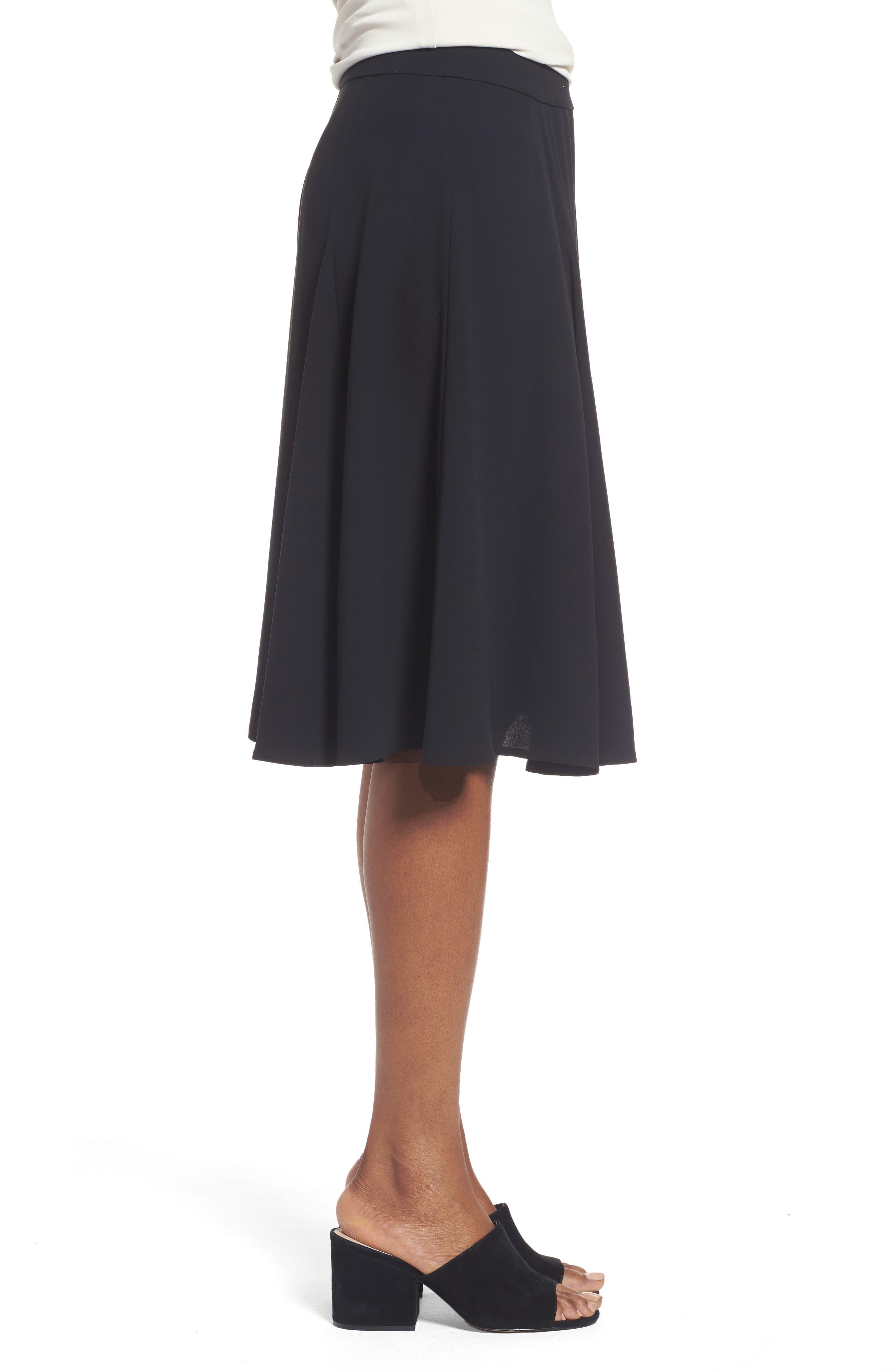 Gored Silk Skirt,                             Alternate thumbnail 3, color,                             001