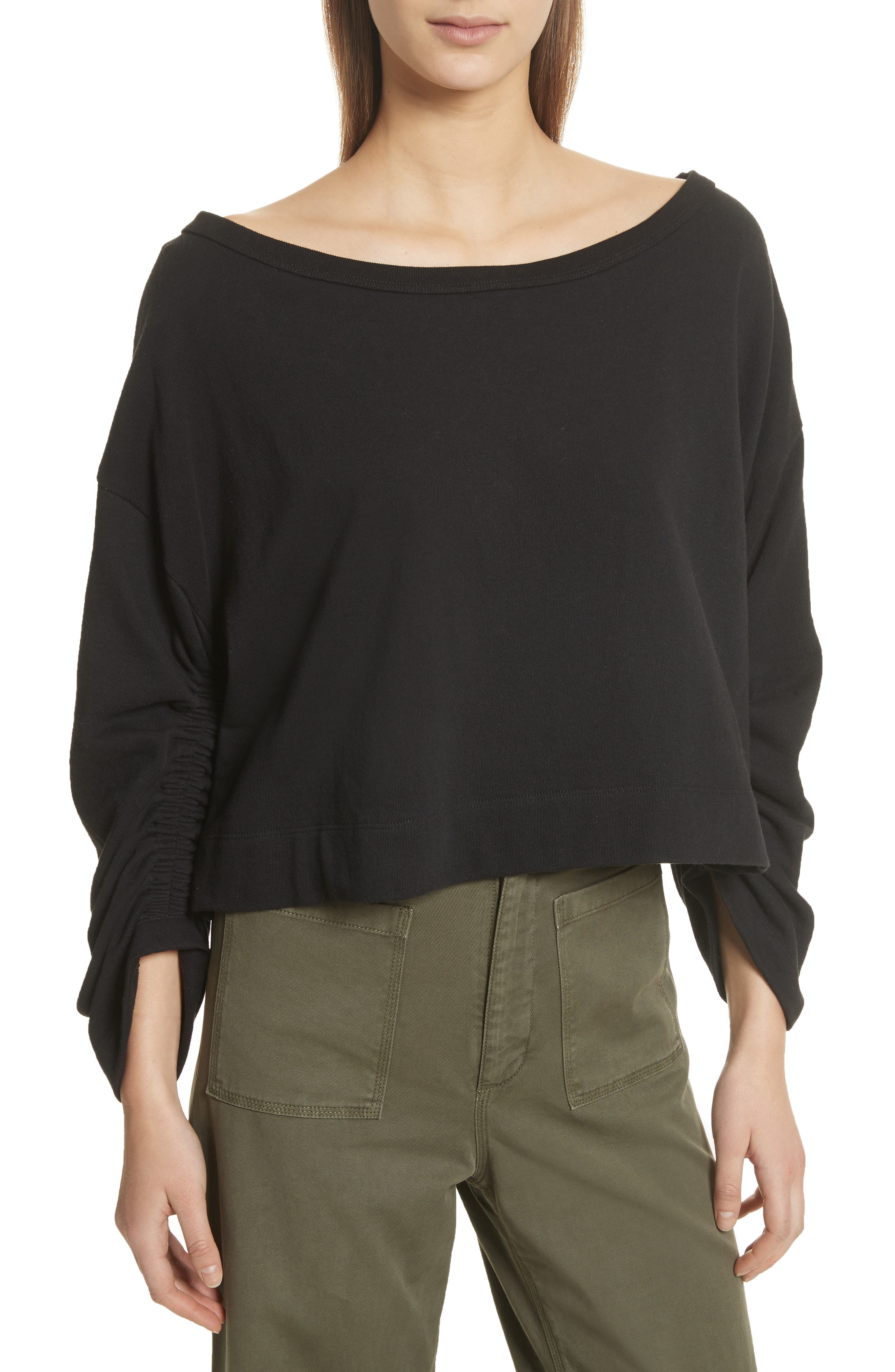 Ember Ruched Sleeve Sweatshirt,                         Main,                         color,