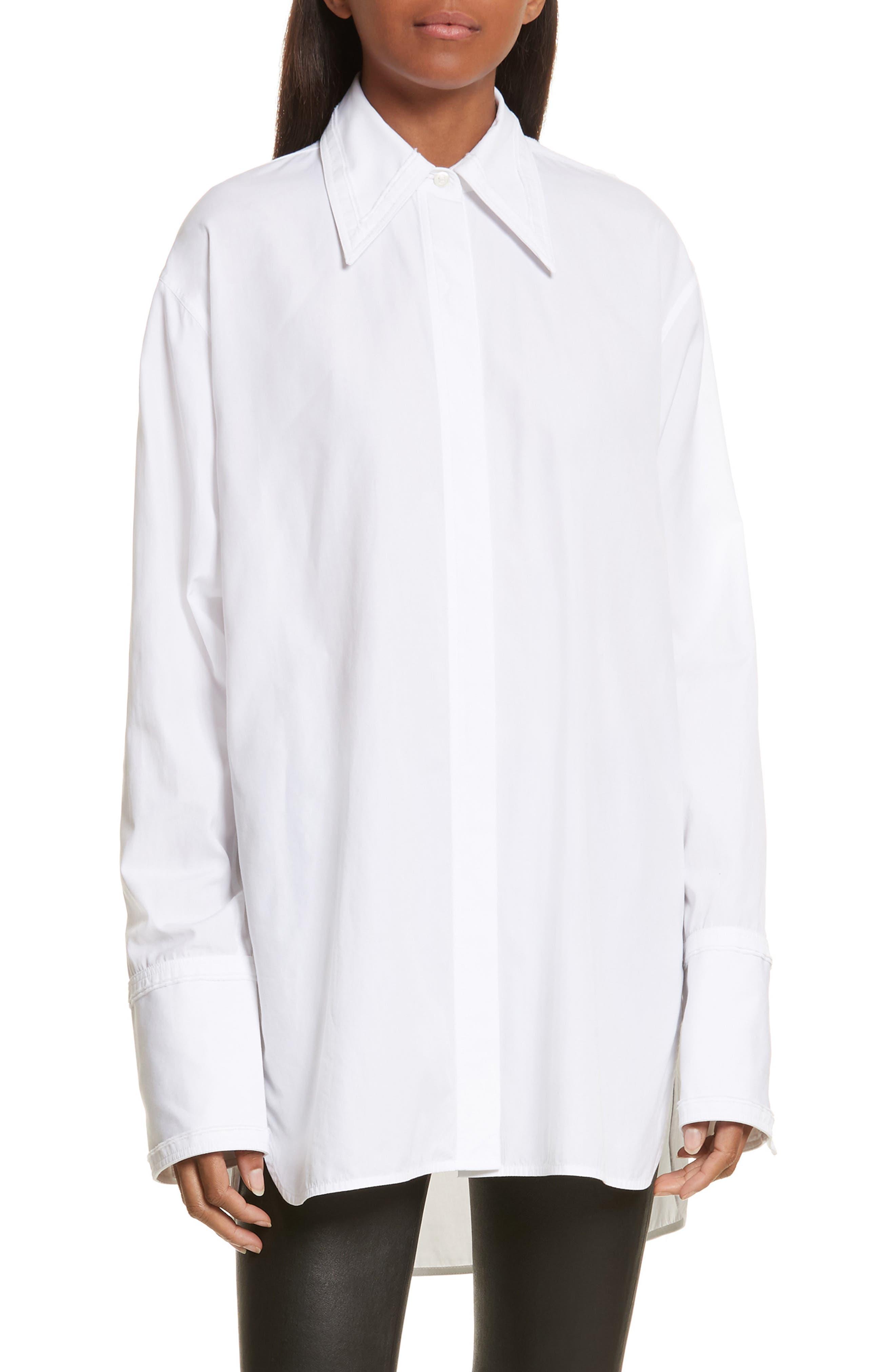 Cutout Cotton Poplin Shirt,                         Main,                         color, 139