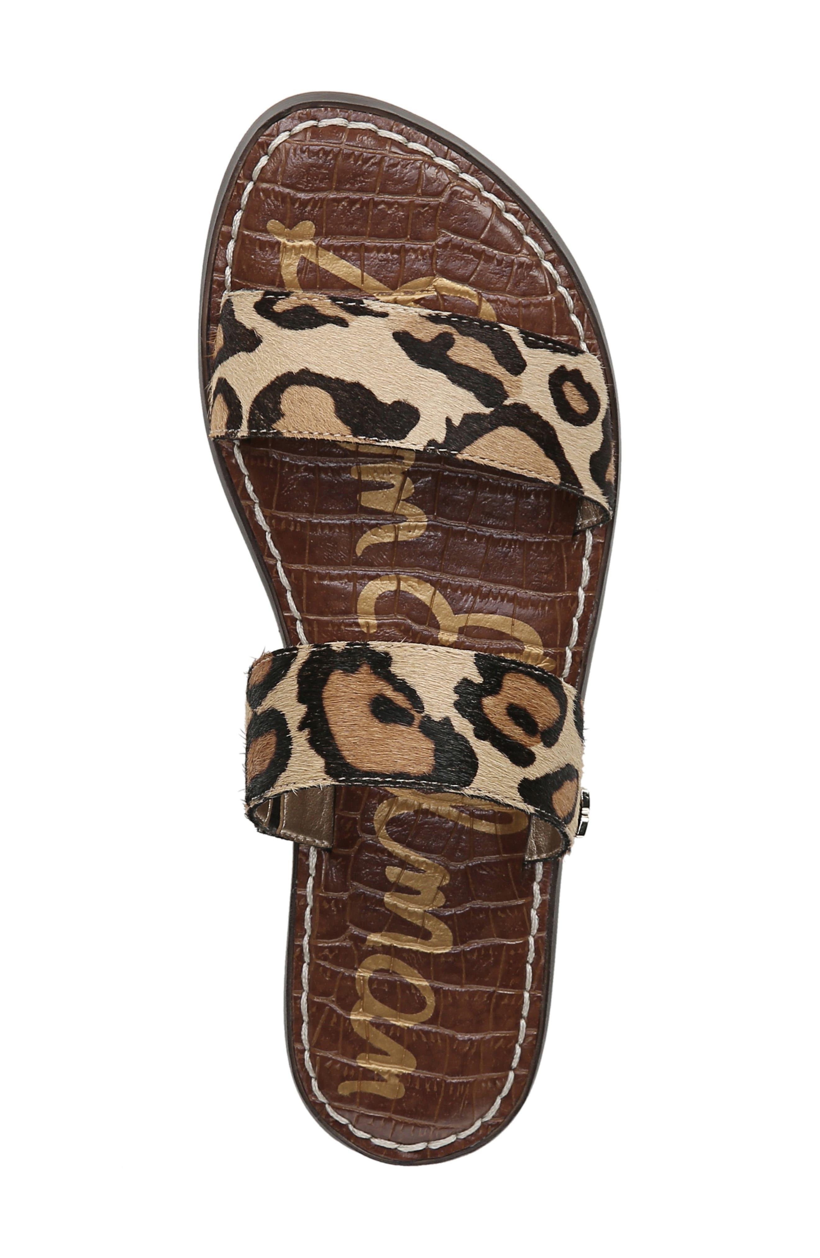 SAM EDELMAN,                             Gala Two Strap Genuine Calf Hair Slide Sandal,                             Alternate thumbnail 5, color,                             LEOPARD CALF HAIR