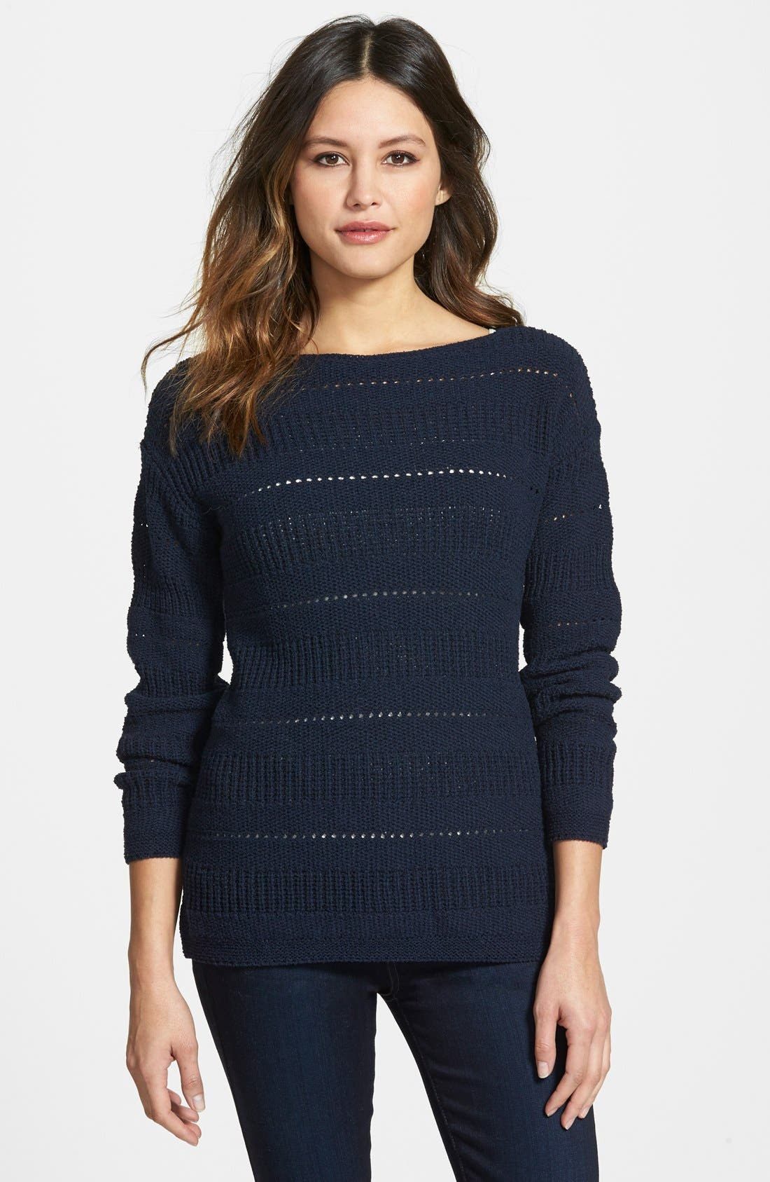 Pointelle Stitch Boatneck Sweater,                         Main,                         color,