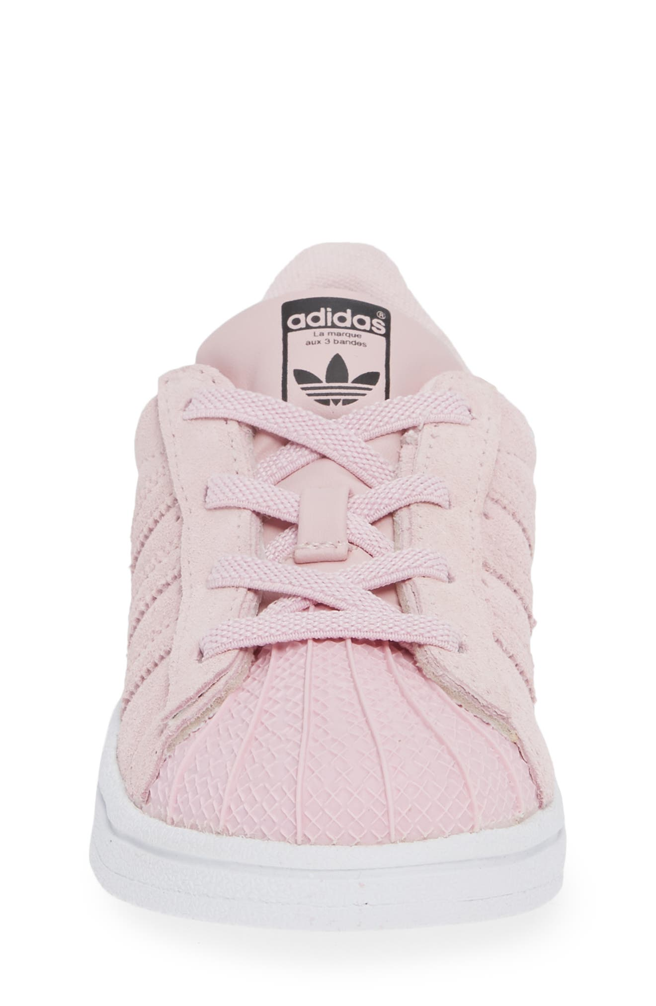 Superstar Low Top Sneaker,                             Alternate thumbnail 4, color,                             CLEAR PINK/ WHITE