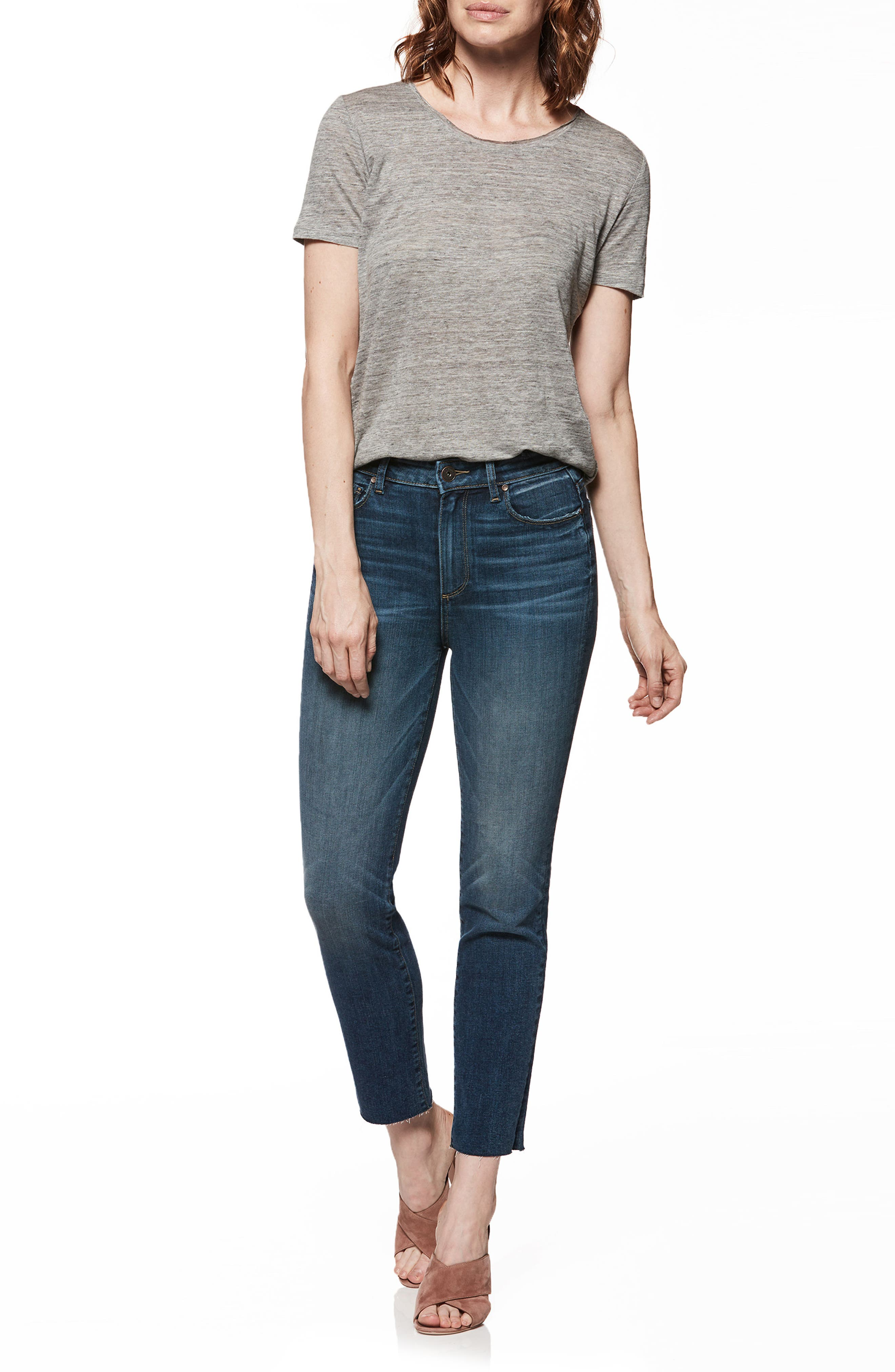 Hoxton High Waist Ankle Straight Leg Jeans,                             Alternate thumbnail 3, color,                             400