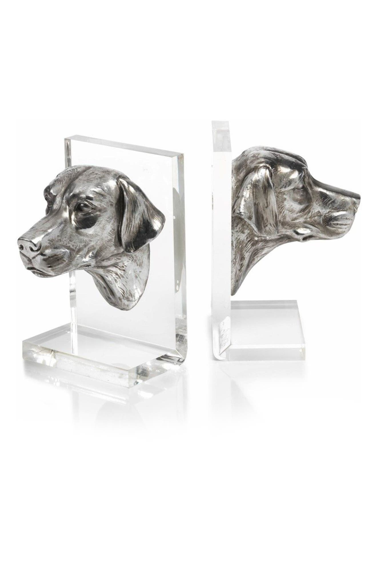 Cadence Set of 2 Dog Bookends,                         Main,                         color, SILVER