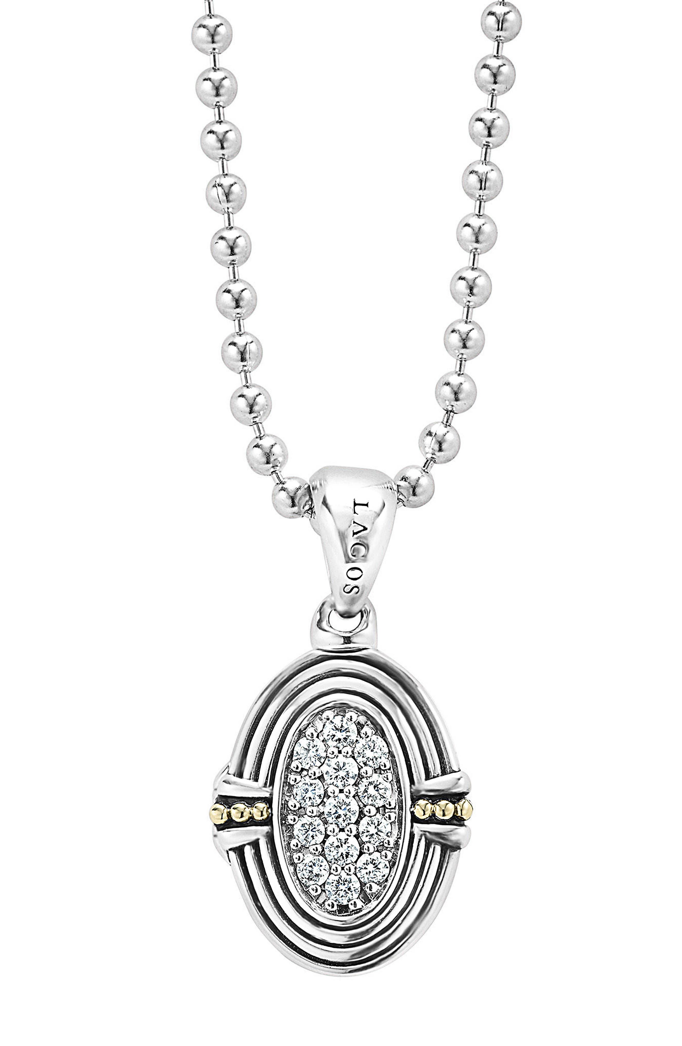 LAGOS,                             Beloved Diamond Oval Locket Necklace,                             Main thumbnail 1, color,                             SILVER