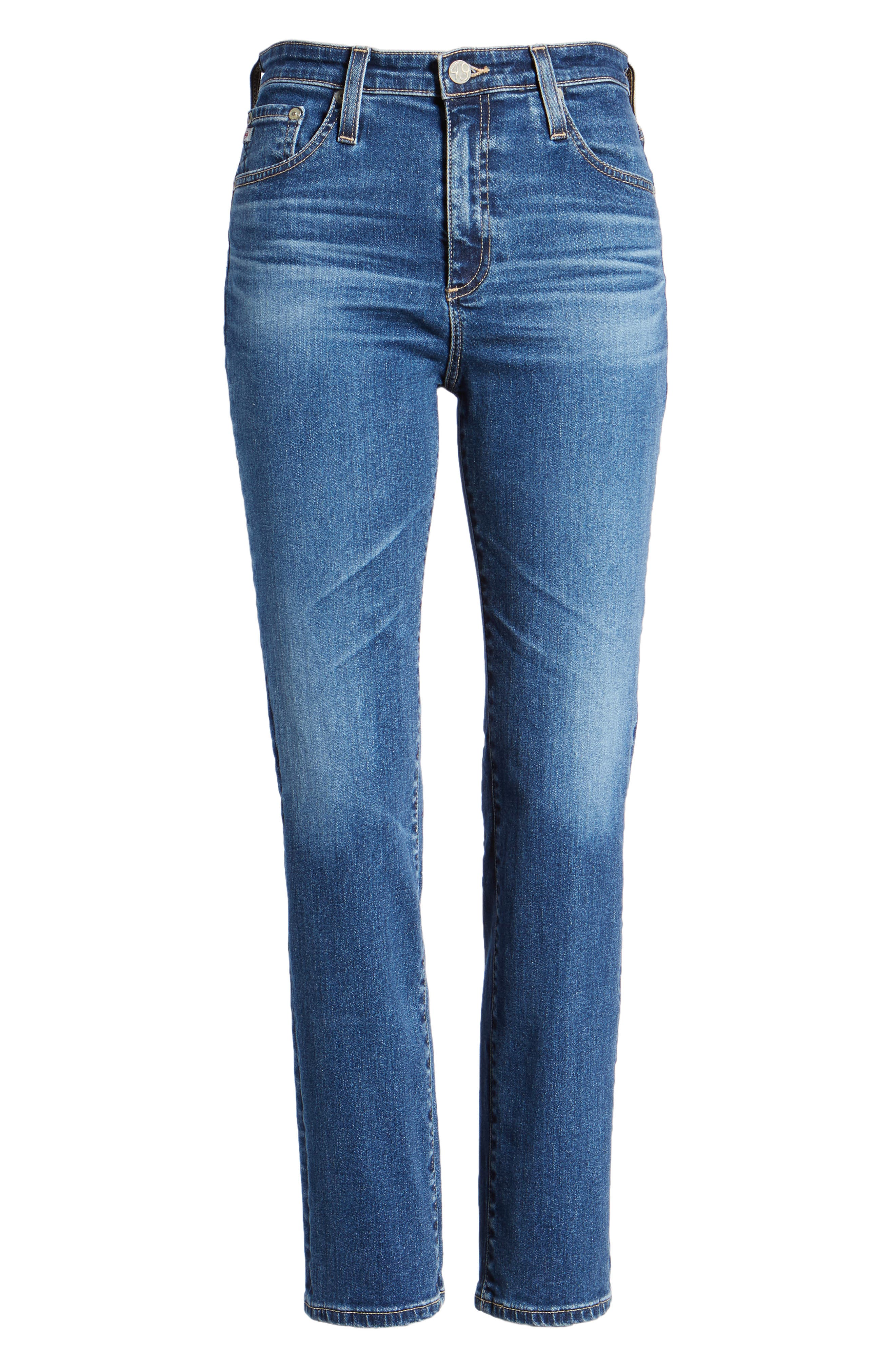 The Isabelle High Waist Crop Straight Leg Jeans,                             Alternate thumbnail 7, color,                             10 YEARS CAMBRIA