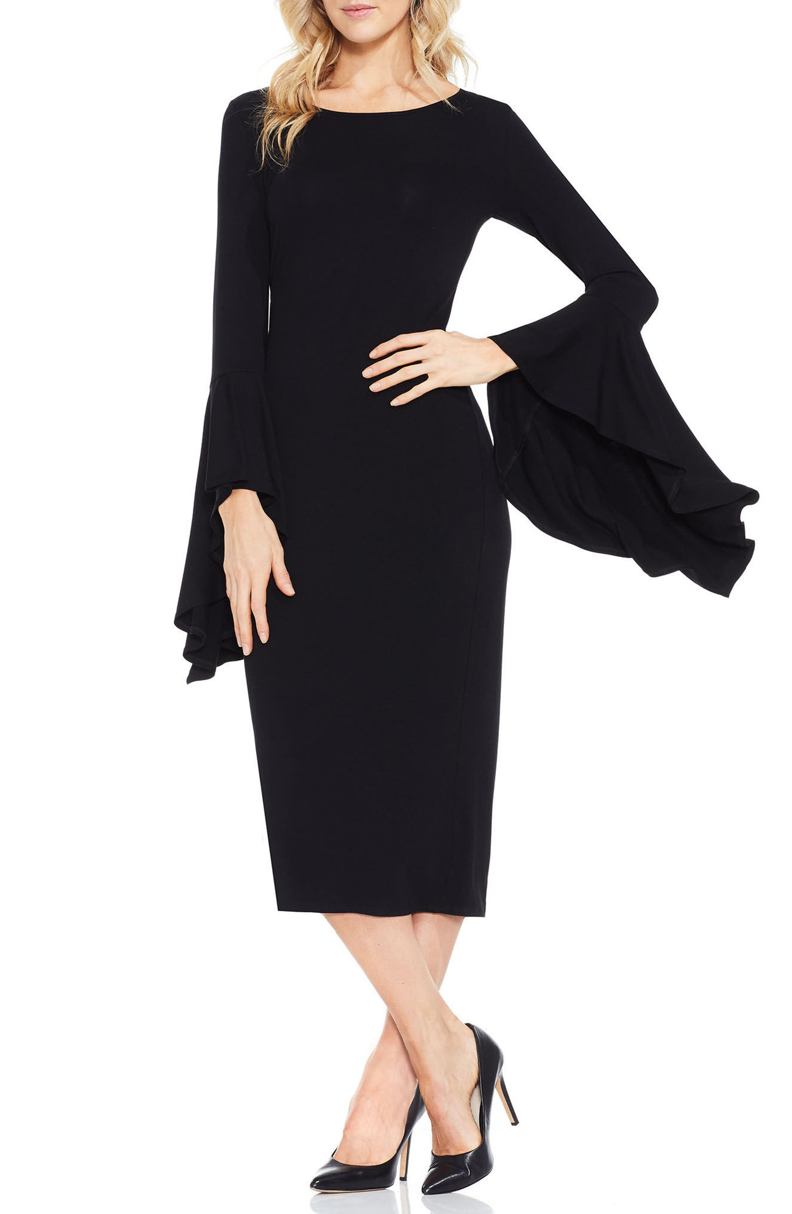 VINCE CAMUTO,                             Bell Sleeve Midi Dress,                             Main thumbnail 1, color,                             006
