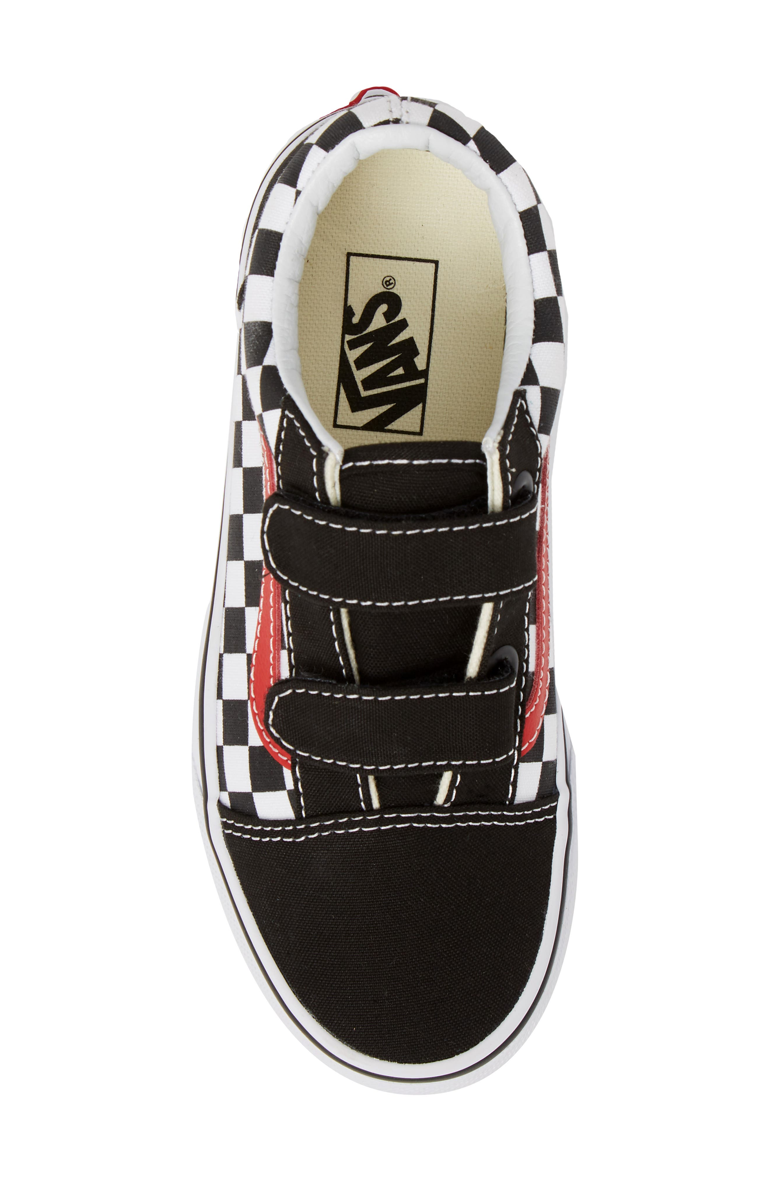 Old Skool V Sneaker,                             Alternate thumbnail 5, color,                             CHECKERBOARD BLACK/ RED/ WHITE