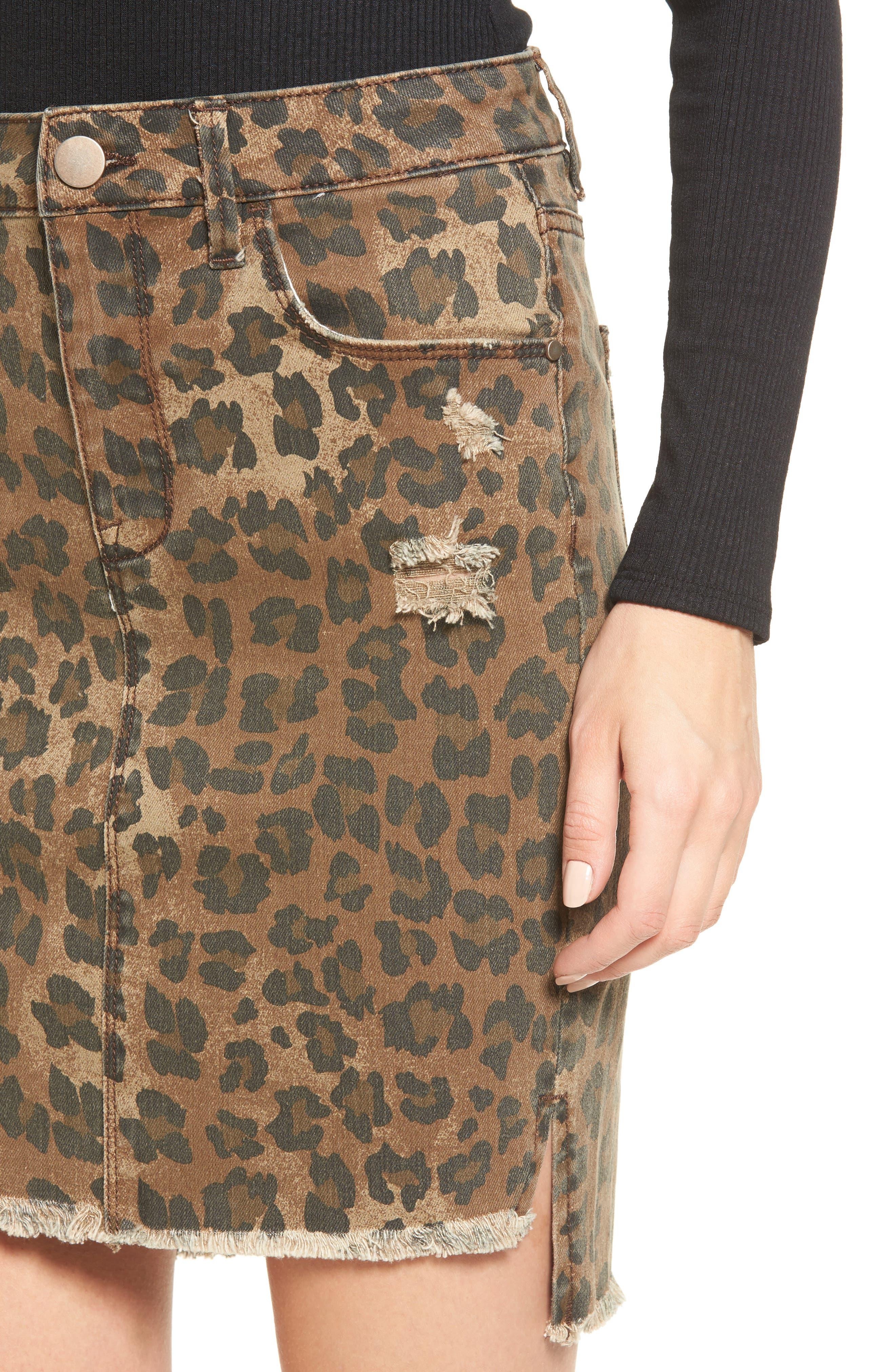 Bella Distressed Denim Skirt,                             Alternate thumbnail 4, color,                             001