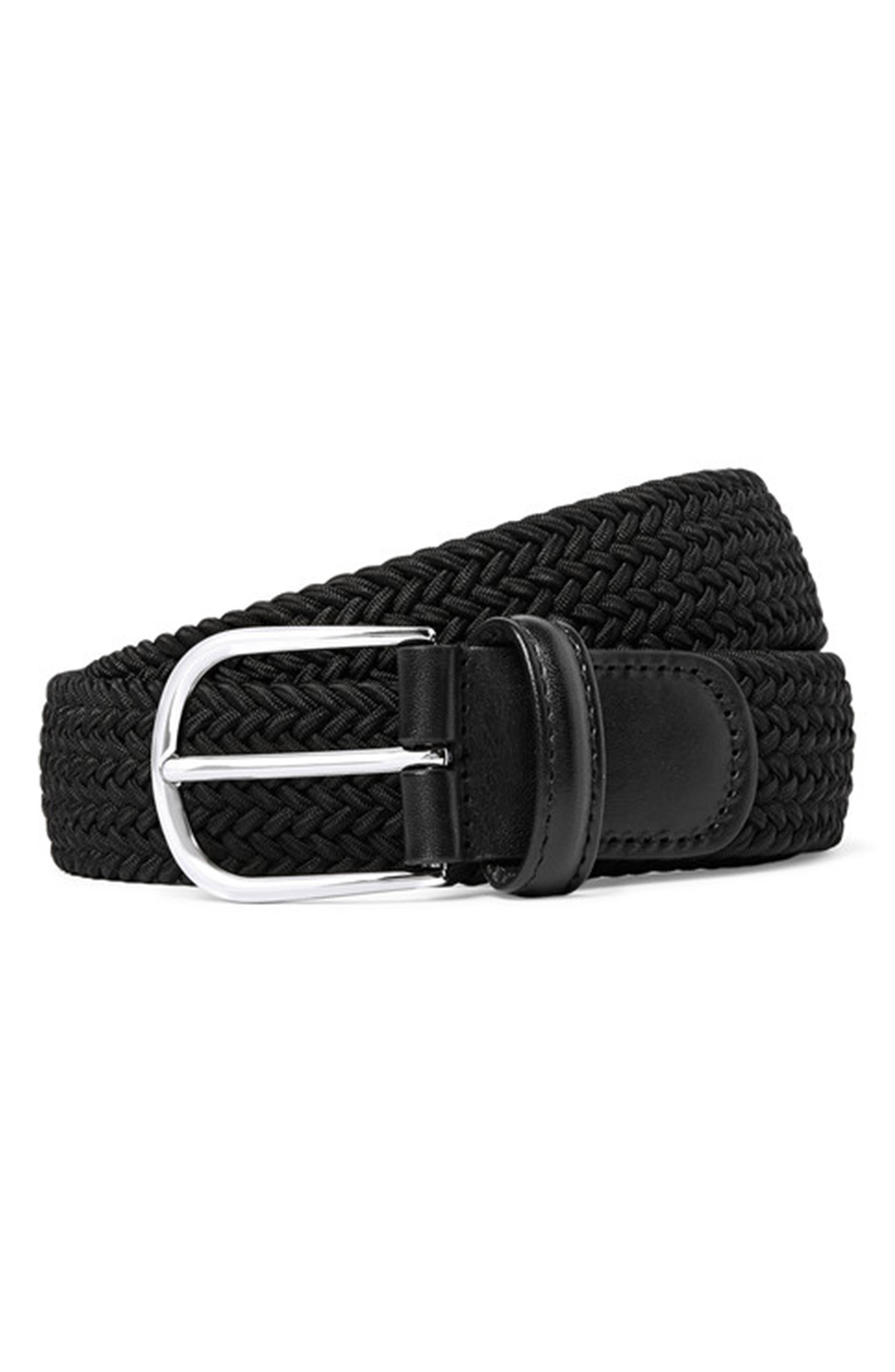 Basic Stretch Woven Belt,                             Main thumbnail 1, color,                             BLACK