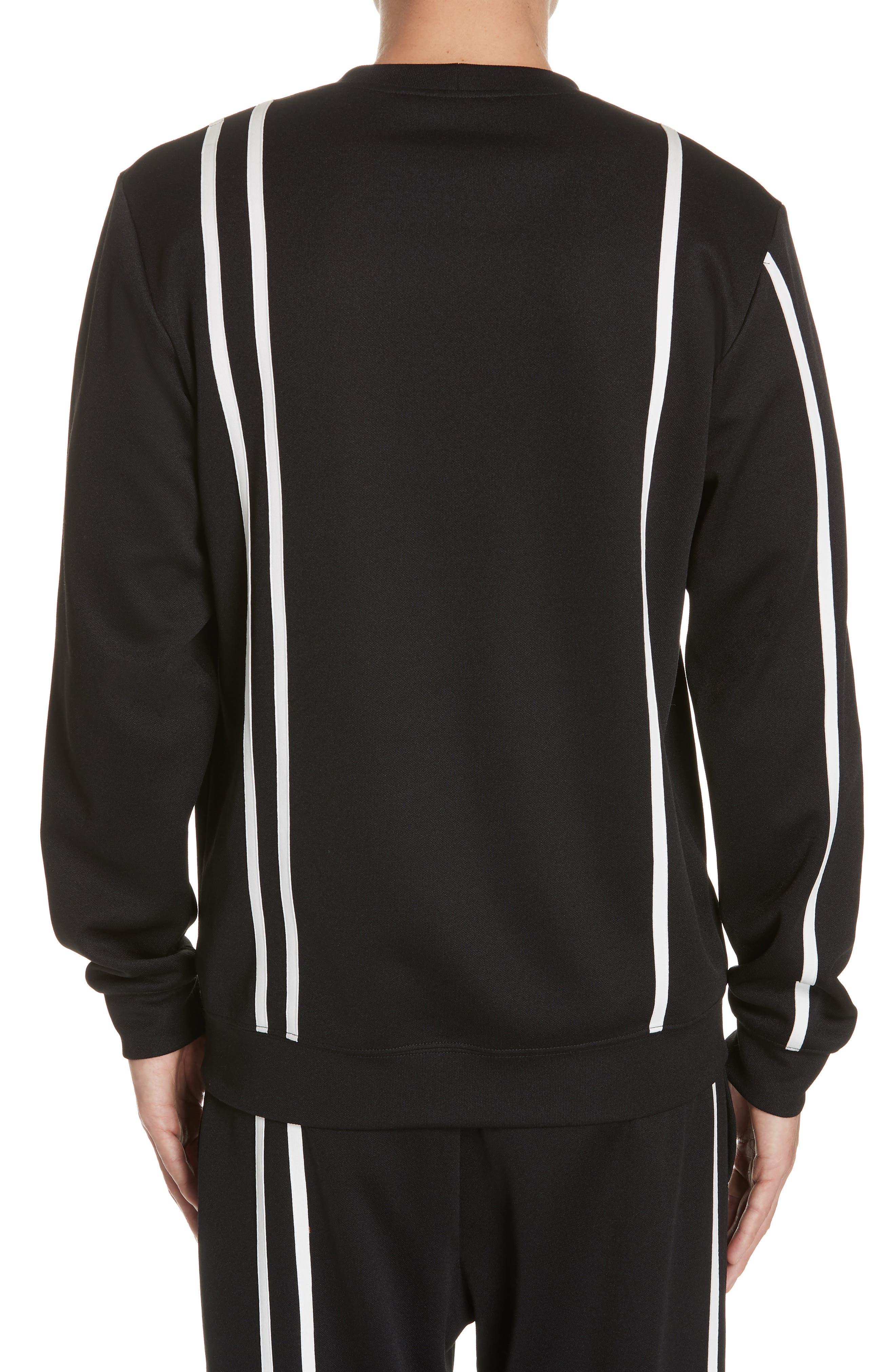 HELMUT LANG,                             Sport Stripe Print Sweatshirt,                             Alternate thumbnail 2, color,                             BLACK AND WHITE
