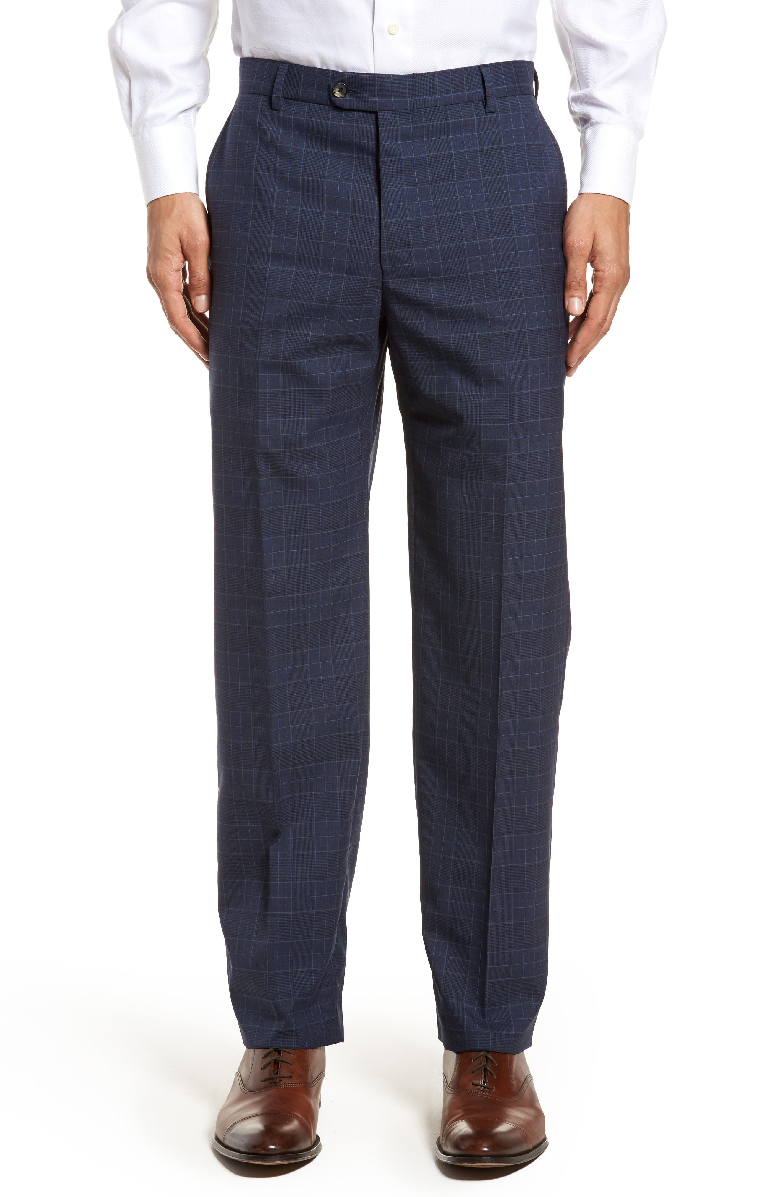 HICKEY FREEMAN,                             Classic B Fit Plaid Wool Suit,                             Alternate thumbnail 6, color,                             400