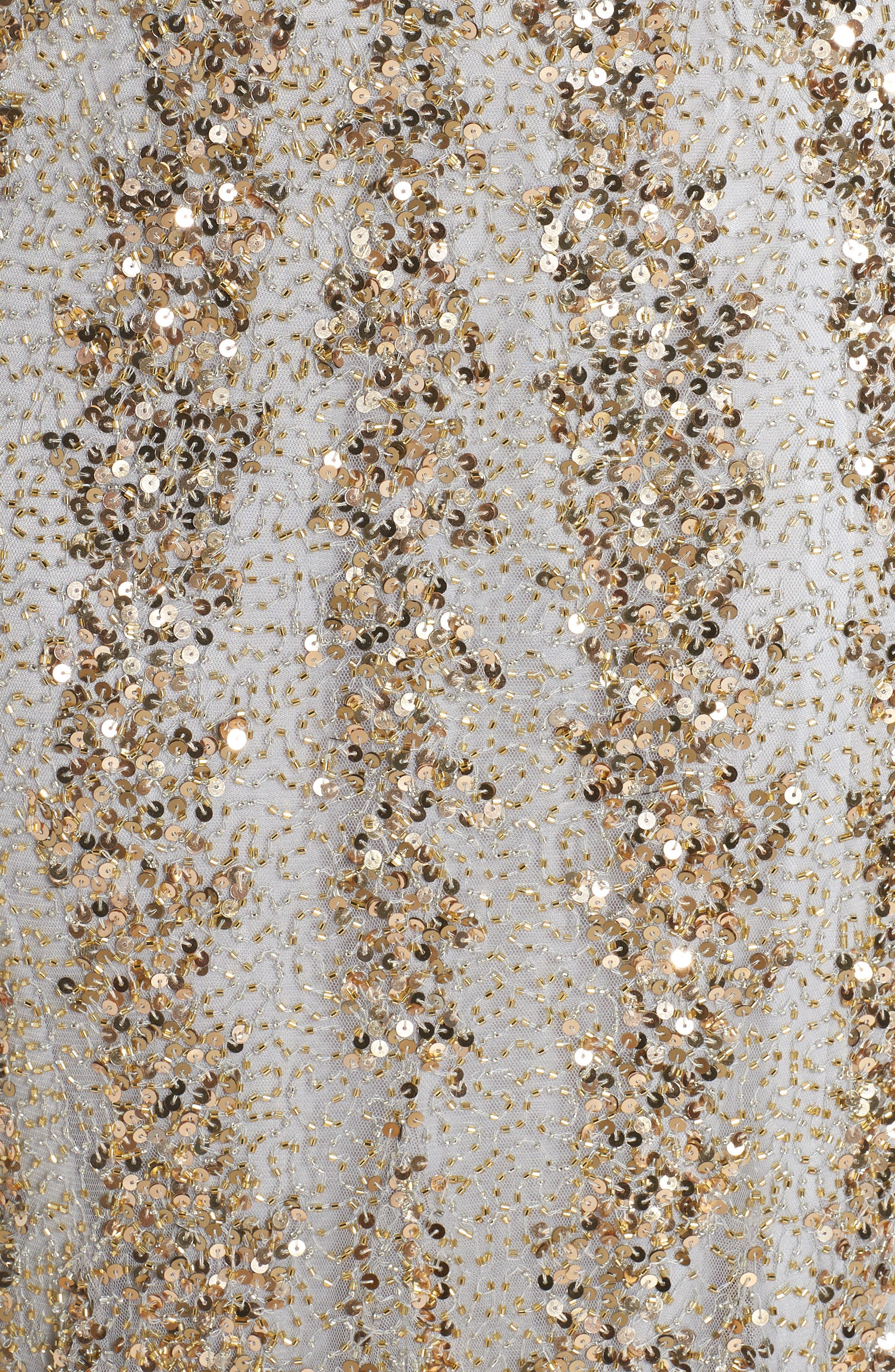 Sequin Gown,                             Alternate thumbnail 6, color,                             NUDE/ PLATINUM