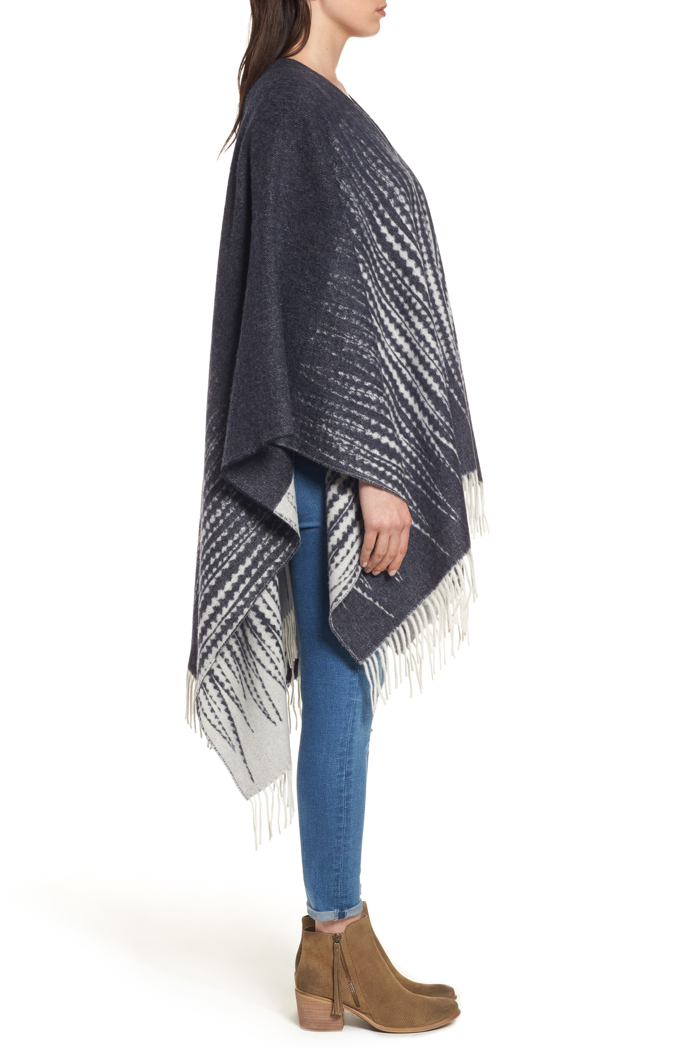 Feather Print Wool Wrap,                             Alternate thumbnail 3, color,                             400