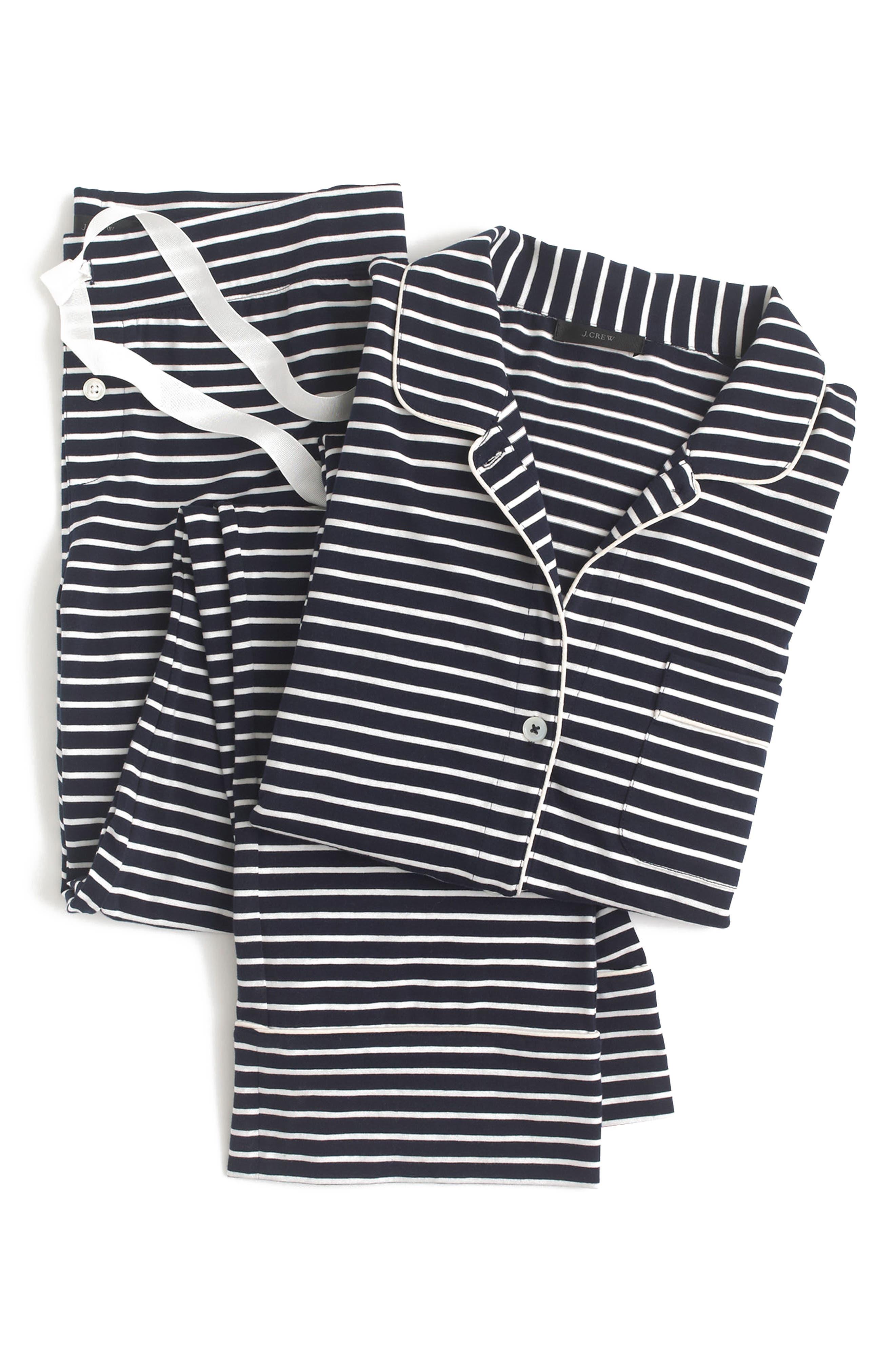 Dreamy Stripe Cotton Pajamas,                             Alternate thumbnail 3, color,                             NAVY IVORY