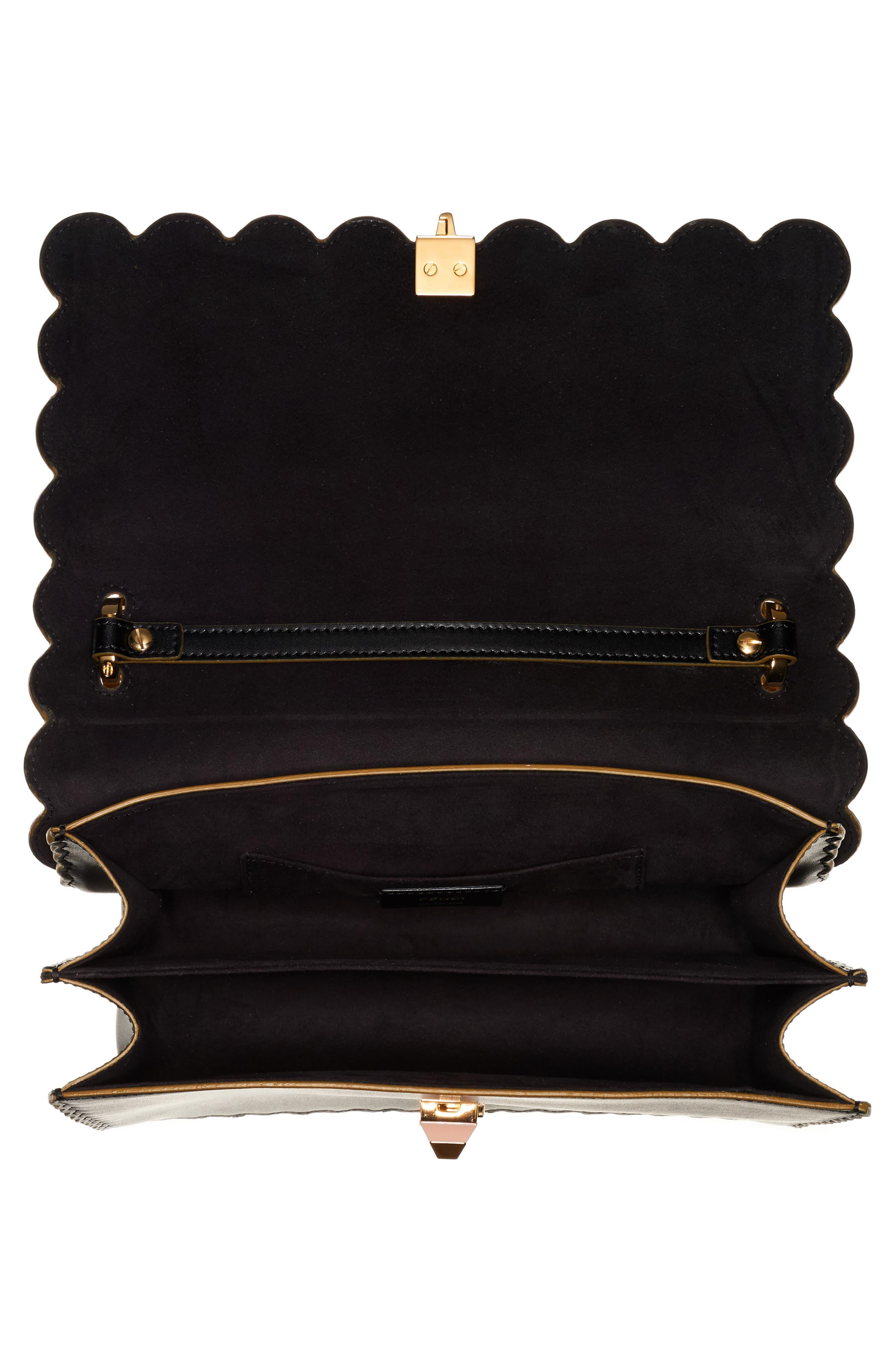 Kan I Scallop Leather Shoulder Bag,                             Alternate thumbnail 3, color,                             BLACK