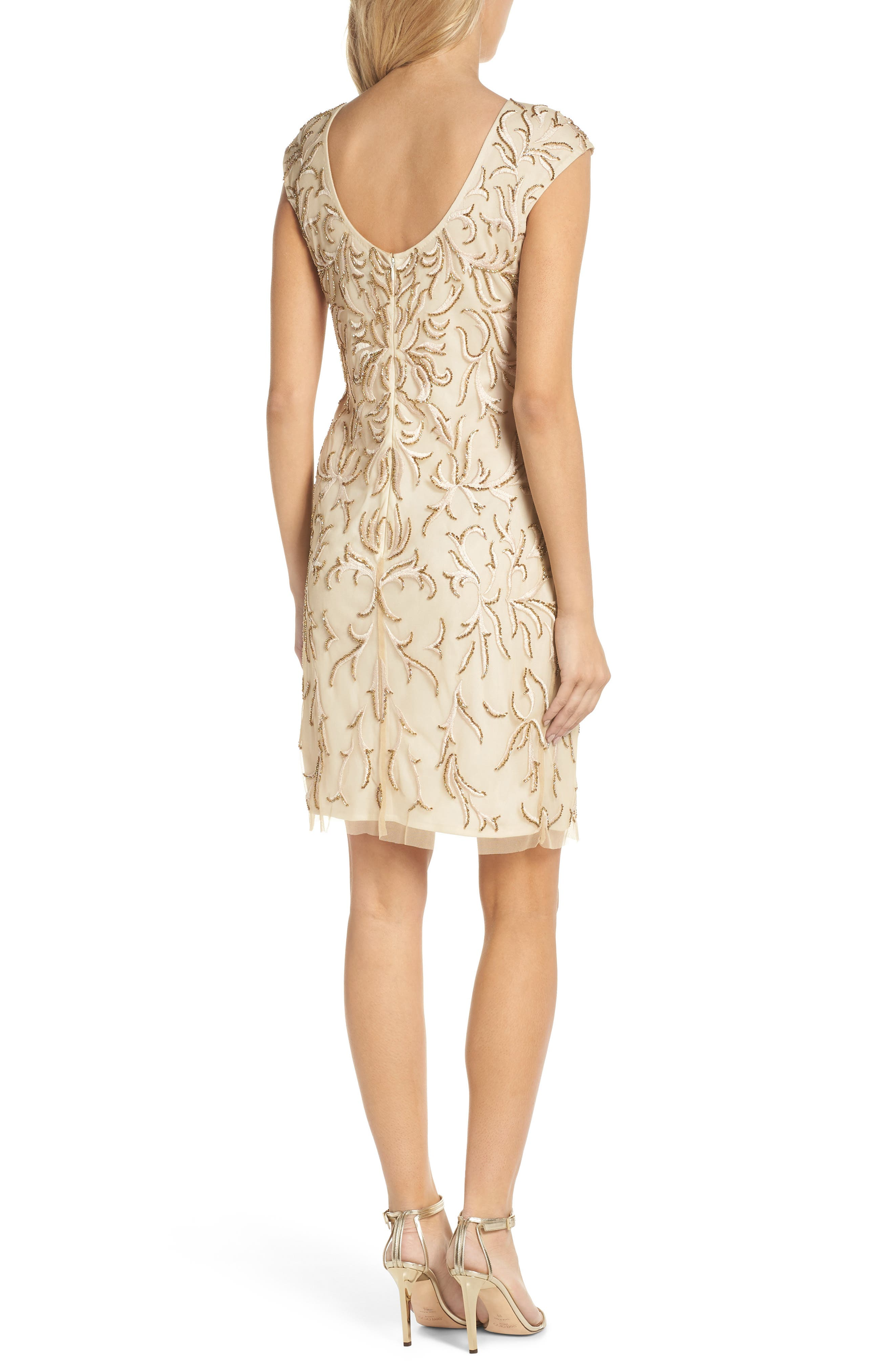 Beaded & Embroidered Cocktail Dress,                             Alternate thumbnail 2, color,                             CHAMPAGNE