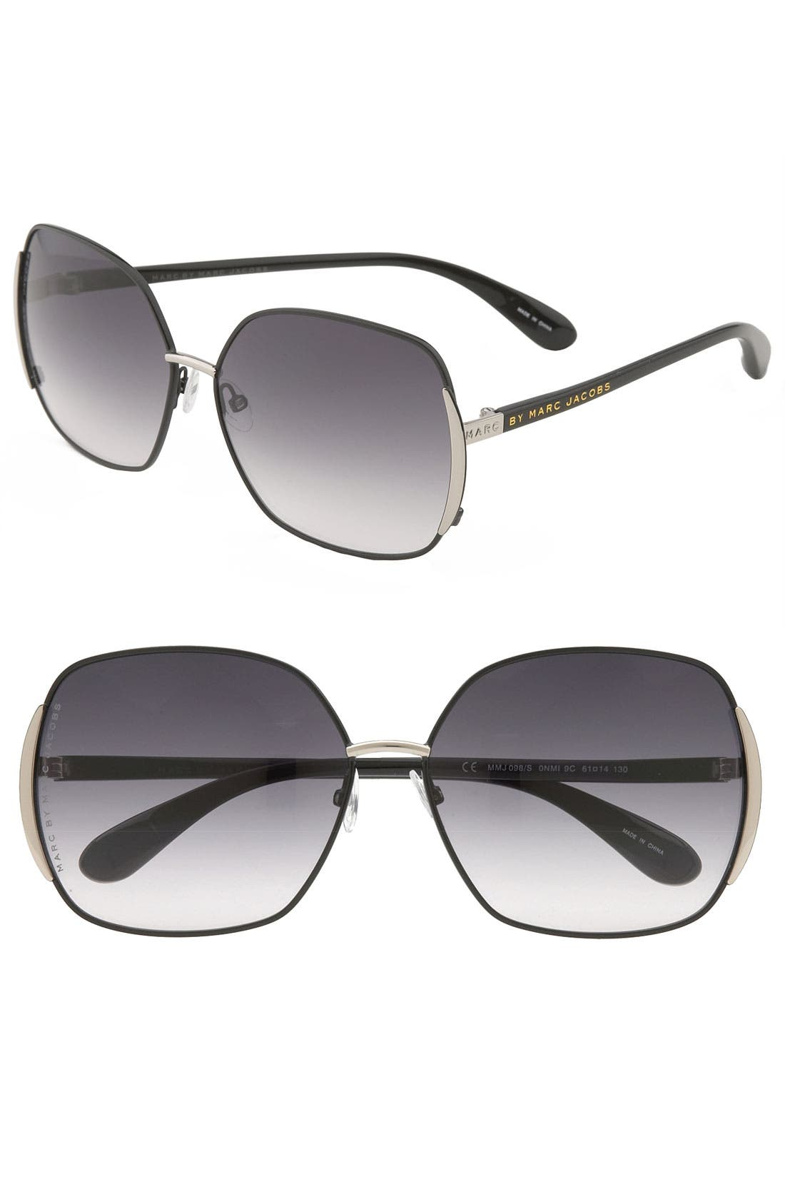 61mm Vintage Inspired Oversized Sunglasses,                             Main thumbnail 1, color,                             001