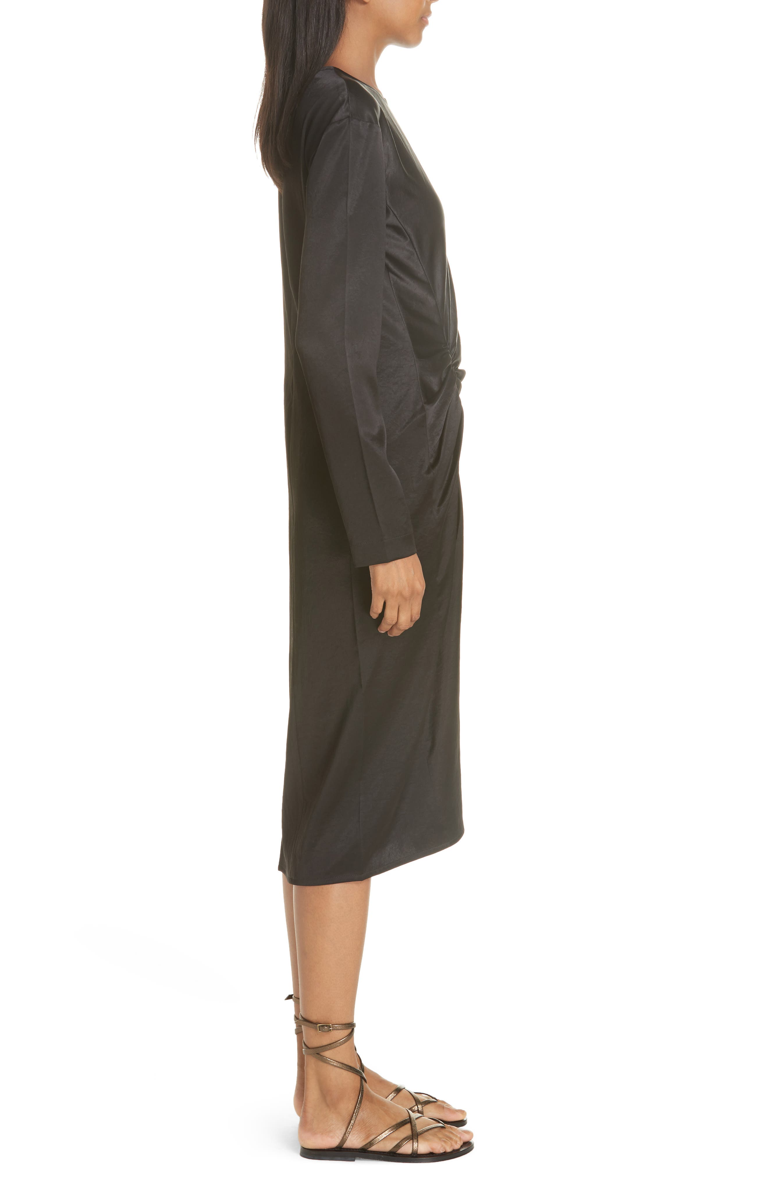 Ruched Crinkle Satin Dress,                             Alternate thumbnail 3, color,                             001