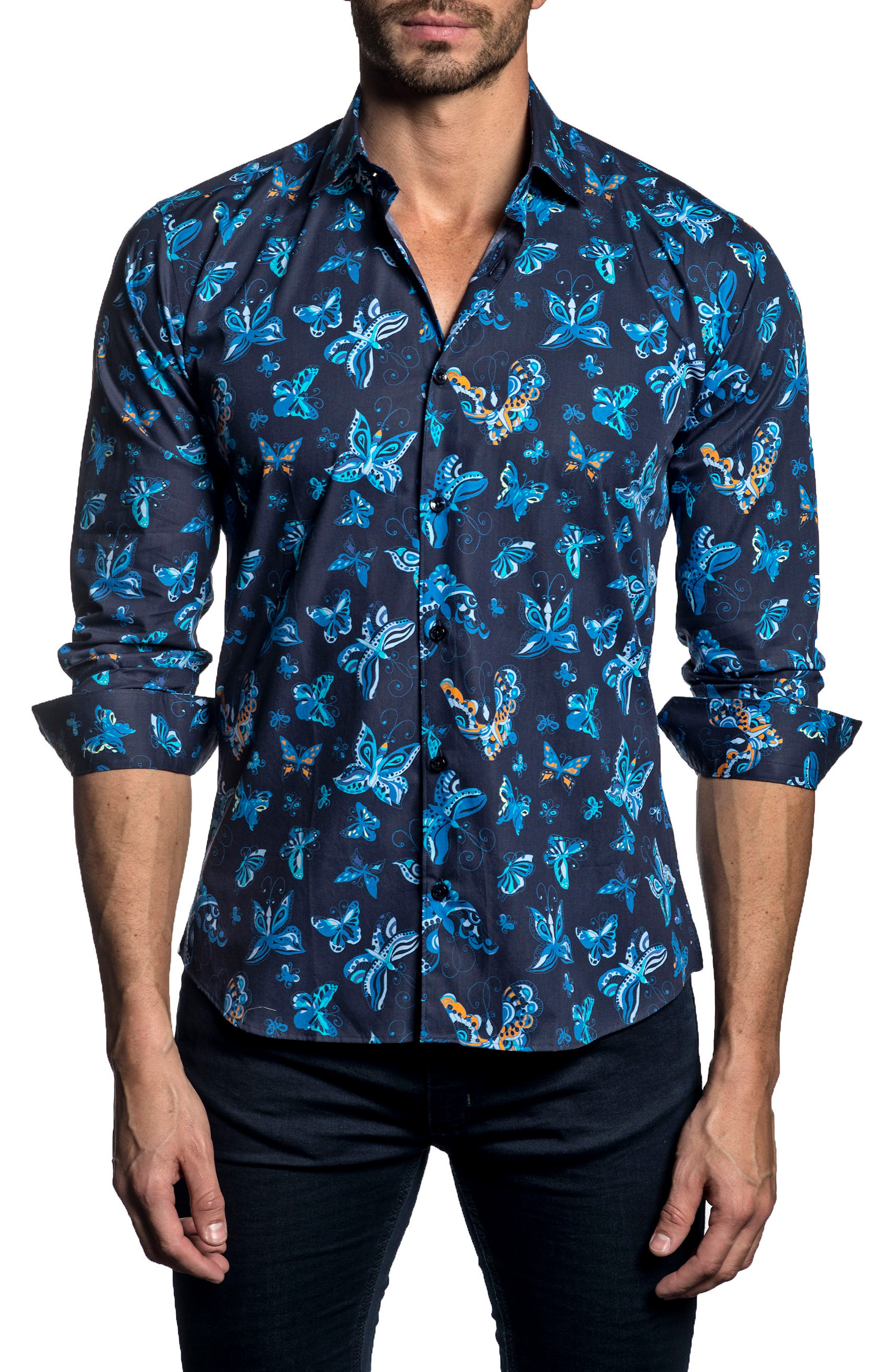 Trim Fit Print Sport Shirt,                             Main thumbnail 1, color,                             411