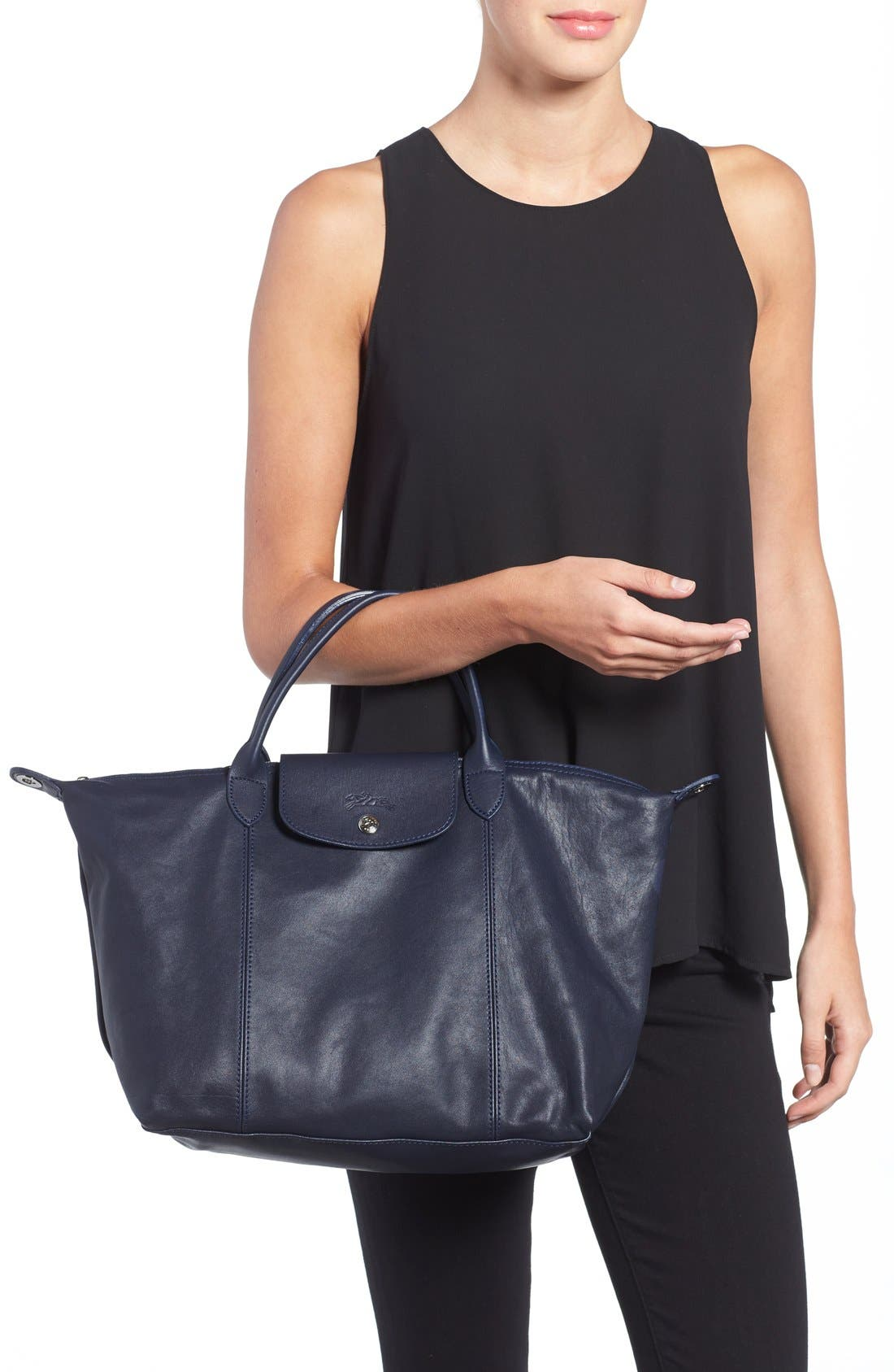 Medium 'Le Pliage Cuir' Leather Top Handle Tote,                             Alternate thumbnail 64, color,