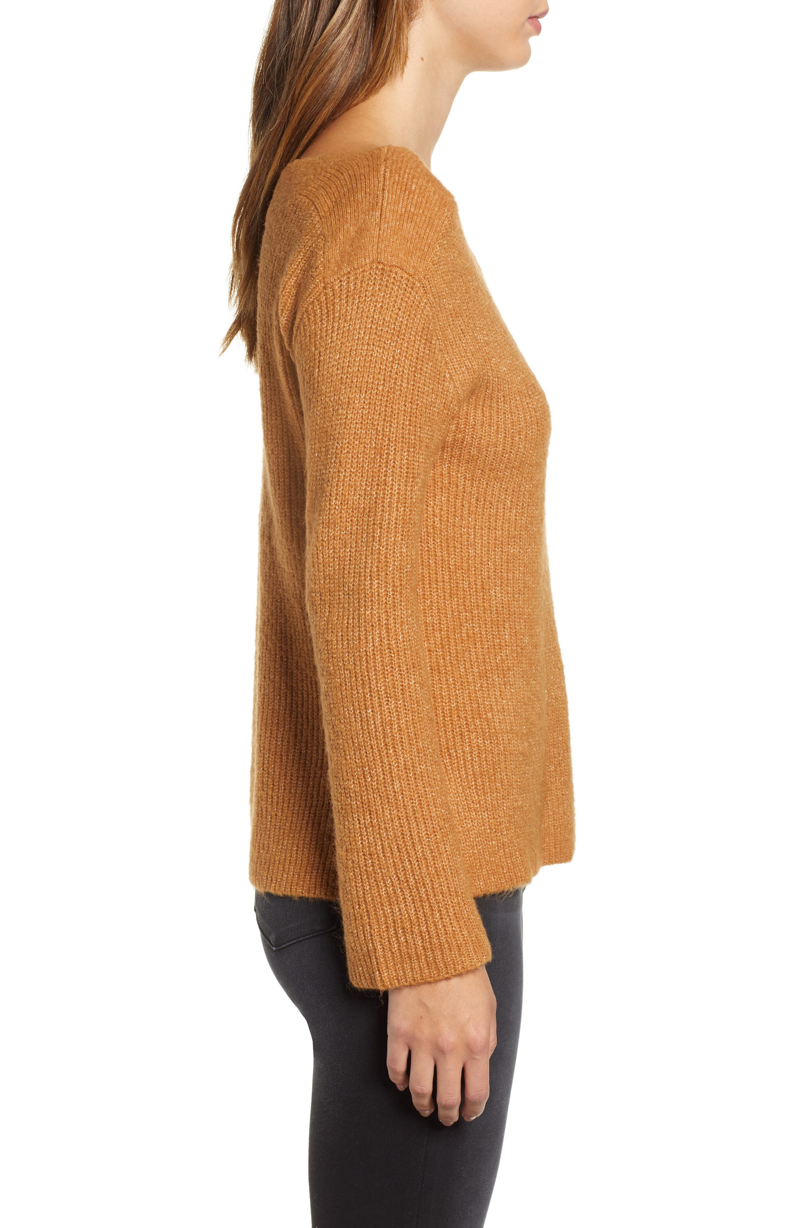 Cozy Femme Pullover Sweater,                             Alternate thumbnail 3, color,                             TAN DALE
