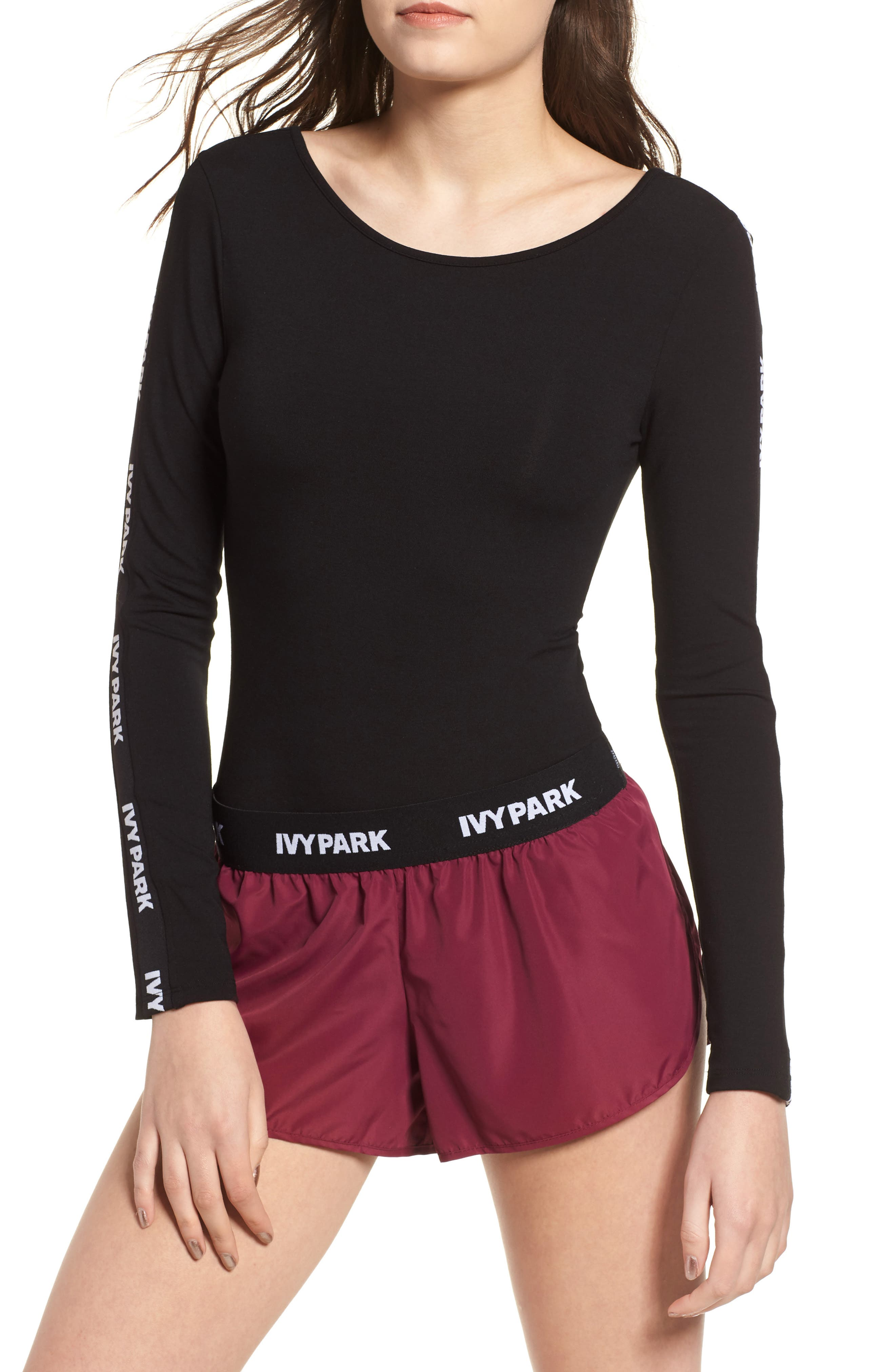 Logo Stripe Sleeve Bodysuit,                         Main,                         color, 001