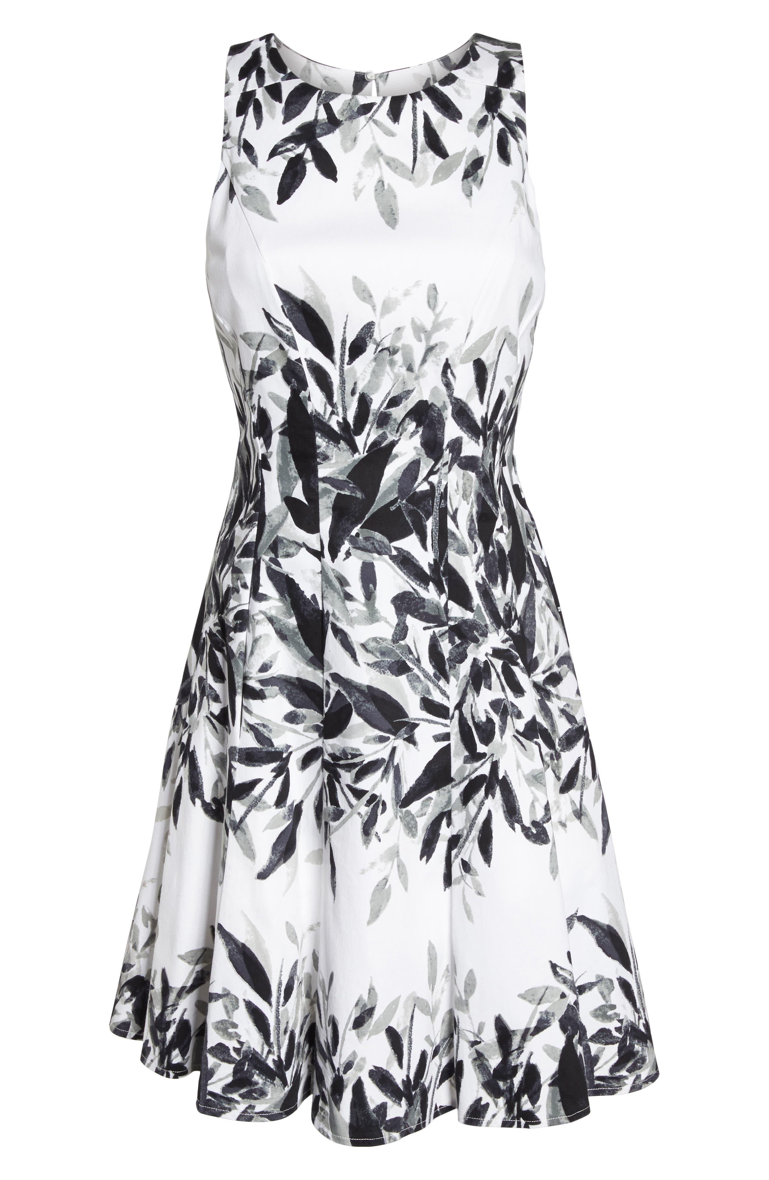 Sateen Fit & Flare Dress,                             Alternate thumbnail 6, color,