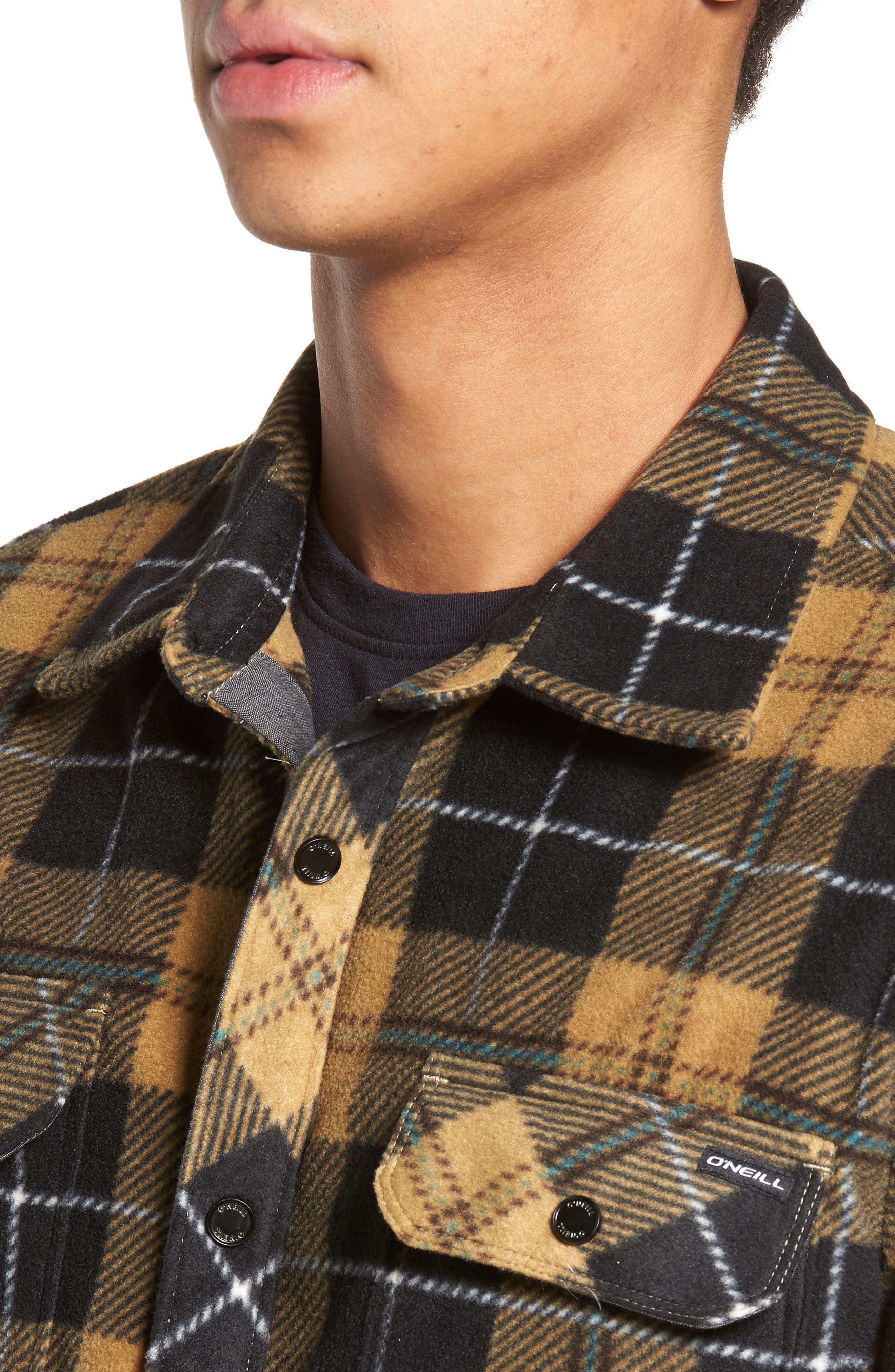 Glacier Plaid Fleece Flannel Shirt,                             Alternate thumbnail 16, color,