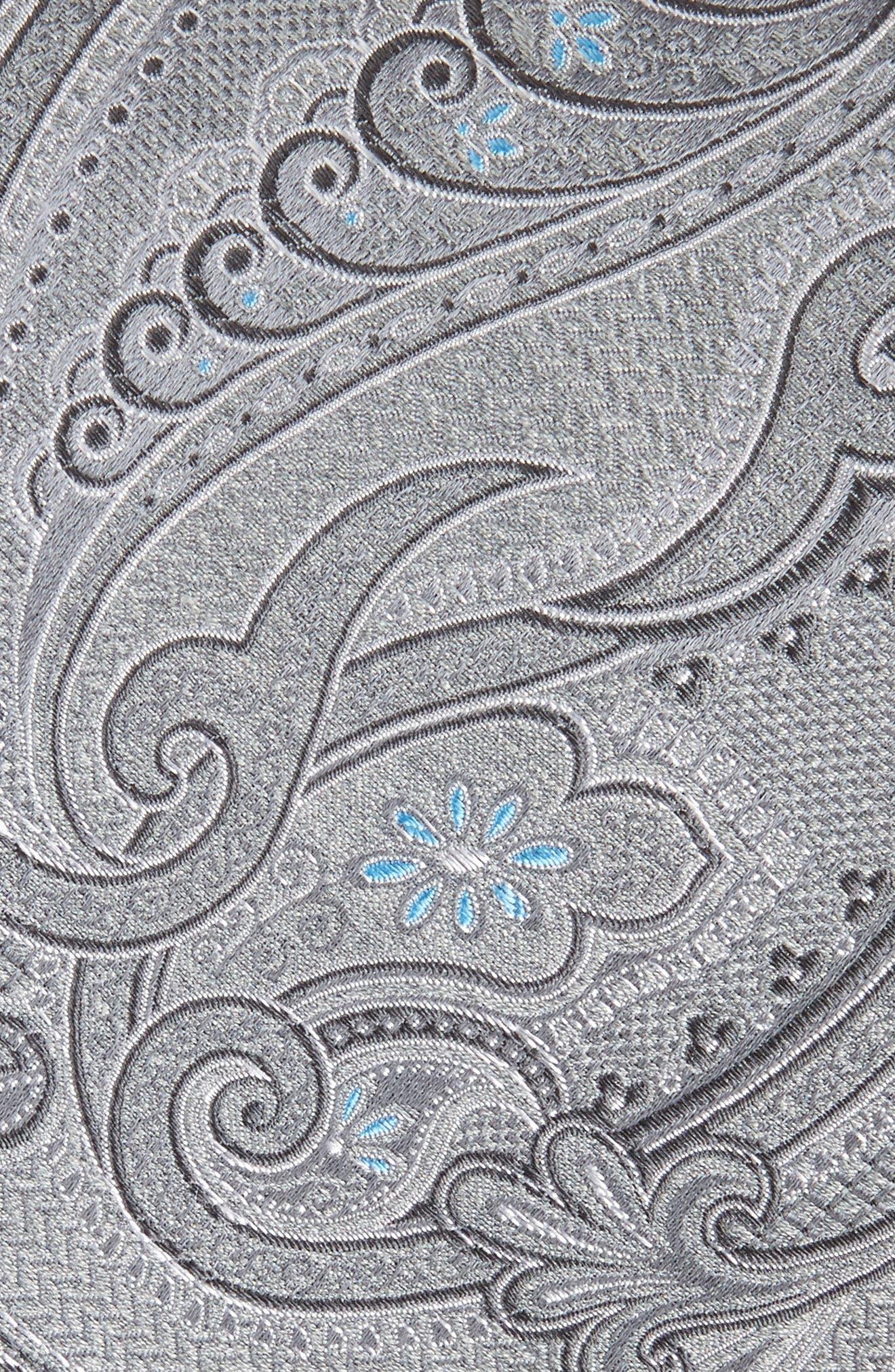 Bushnell Paisley Silk Blend Tie,                             Alternate thumbnail 2, color,                             CHARCOAL